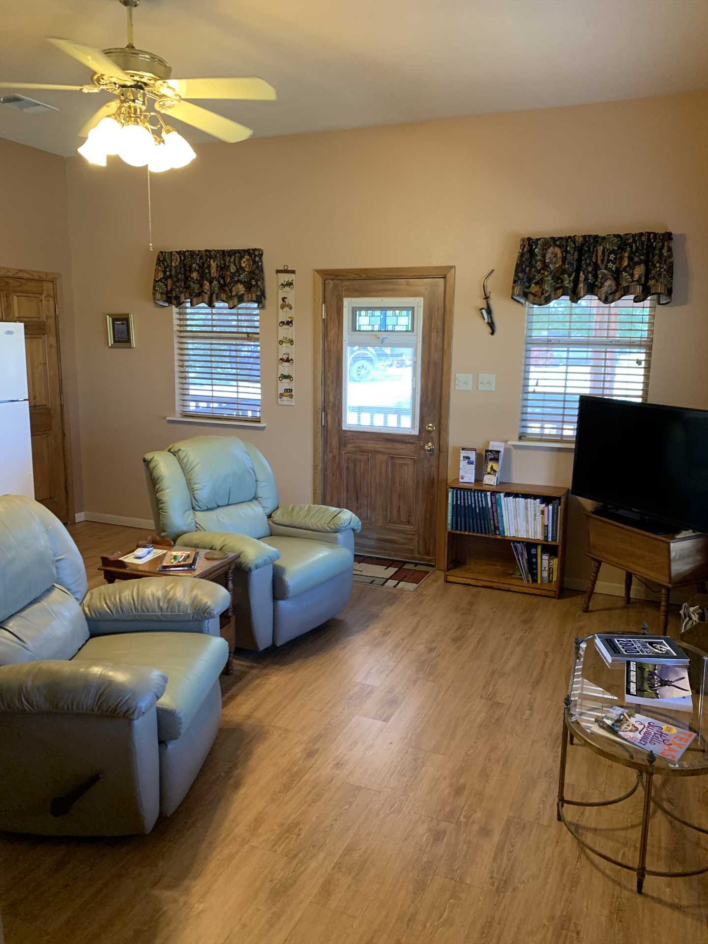 Cozy, stylish, and comfortable, the living area's a wonderful place to recline and decompress.