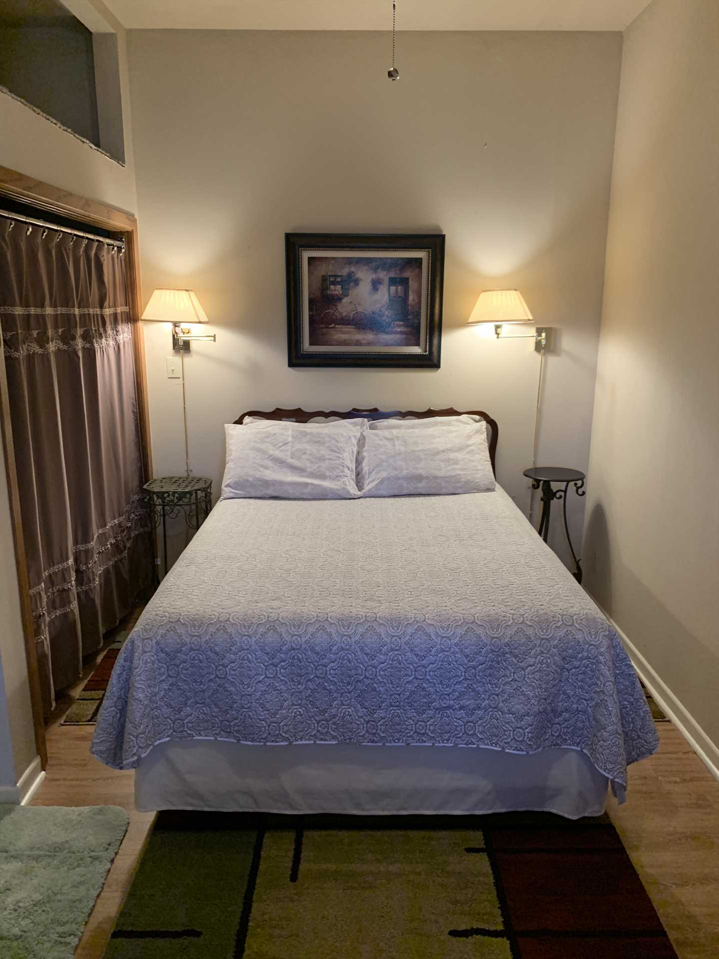 The comfy queen-sized bed and full bath both include soft and clean linens.