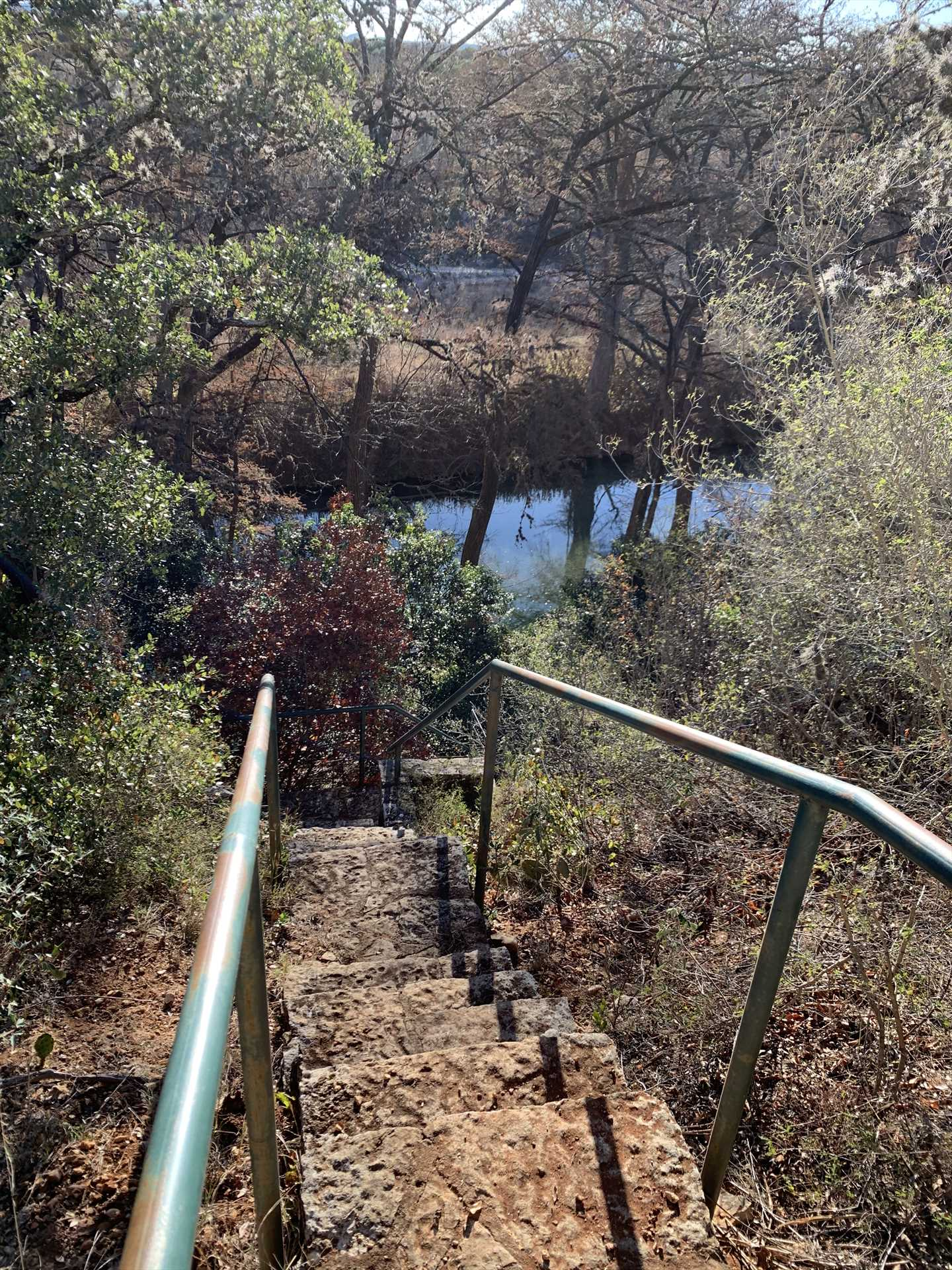 A private staircase leads from the River Home to the Medina. Please be aware the steps can be a little steep, and some of your folks might need a helping hand.