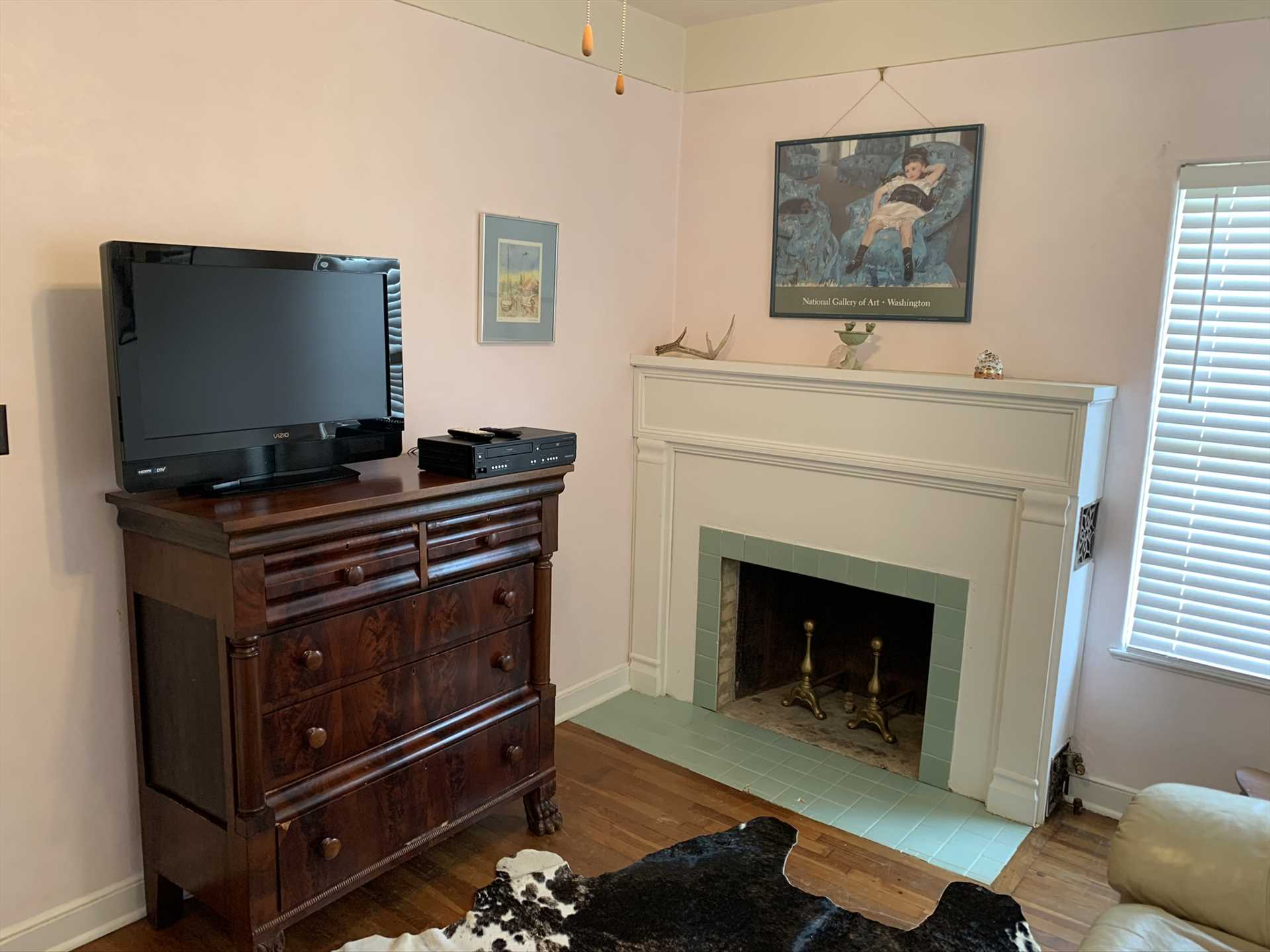 The upstairs TV room includes a TV (thus the room's name!) with a DVD player, as well as Wifi Internet service.