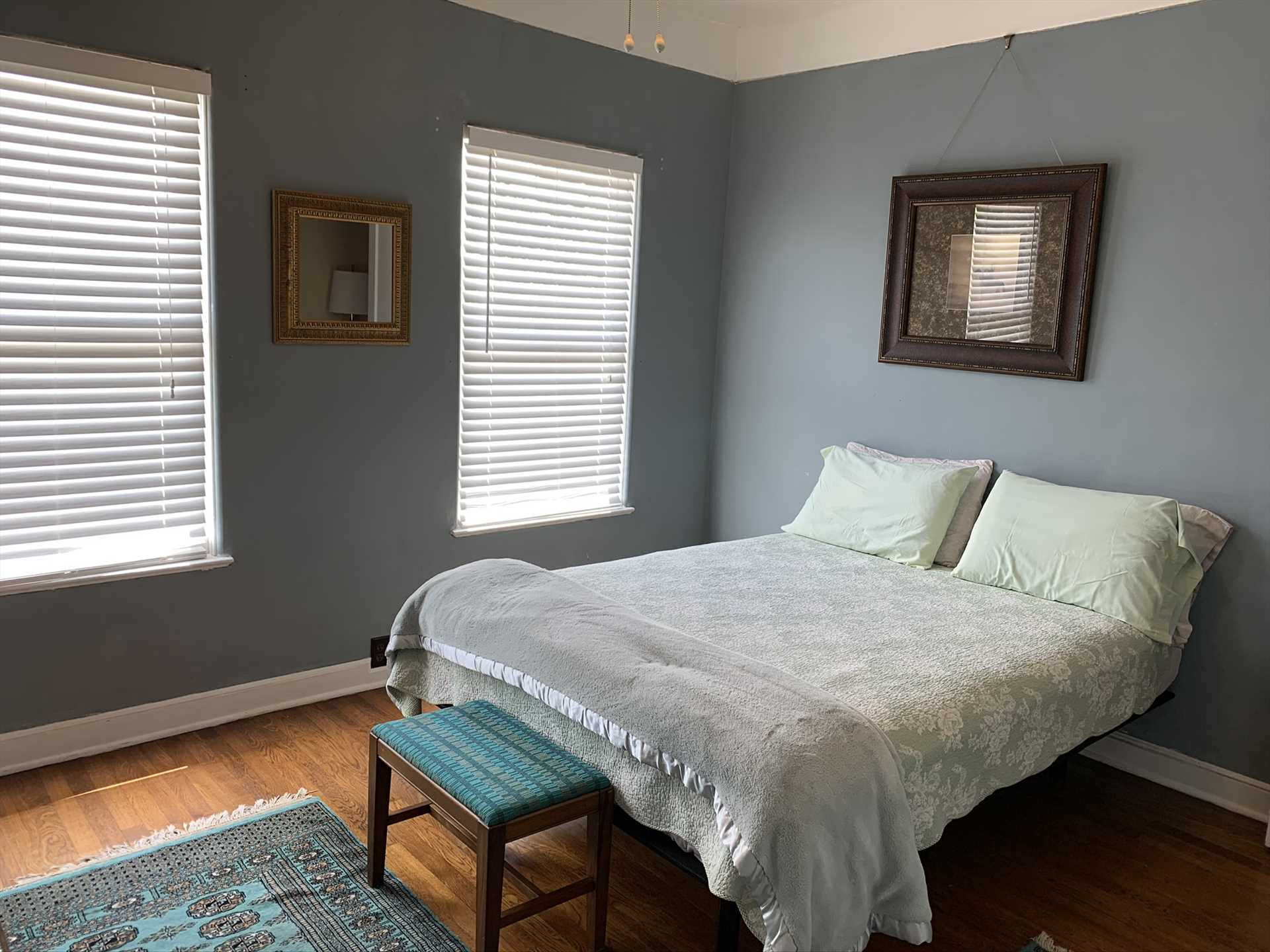 The second bedroom is immediately adjacent to the master, and features a warm and soft double bed. Clean bed and bath linens are provided for everyone, too!