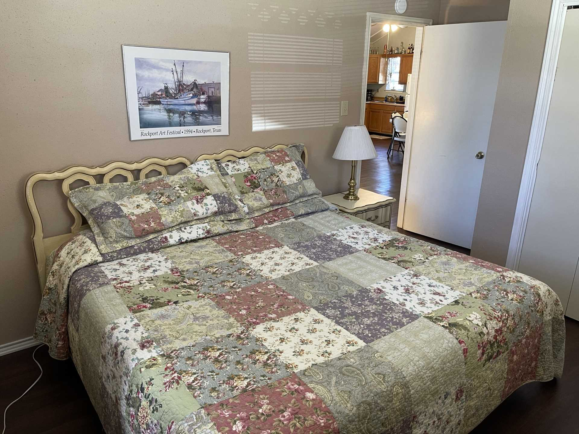 Two guests can sleep in luxurious comfort on the queen bed in the second bedroom. All told, there's soft and warm accommodations for up to four at Lambert Park.