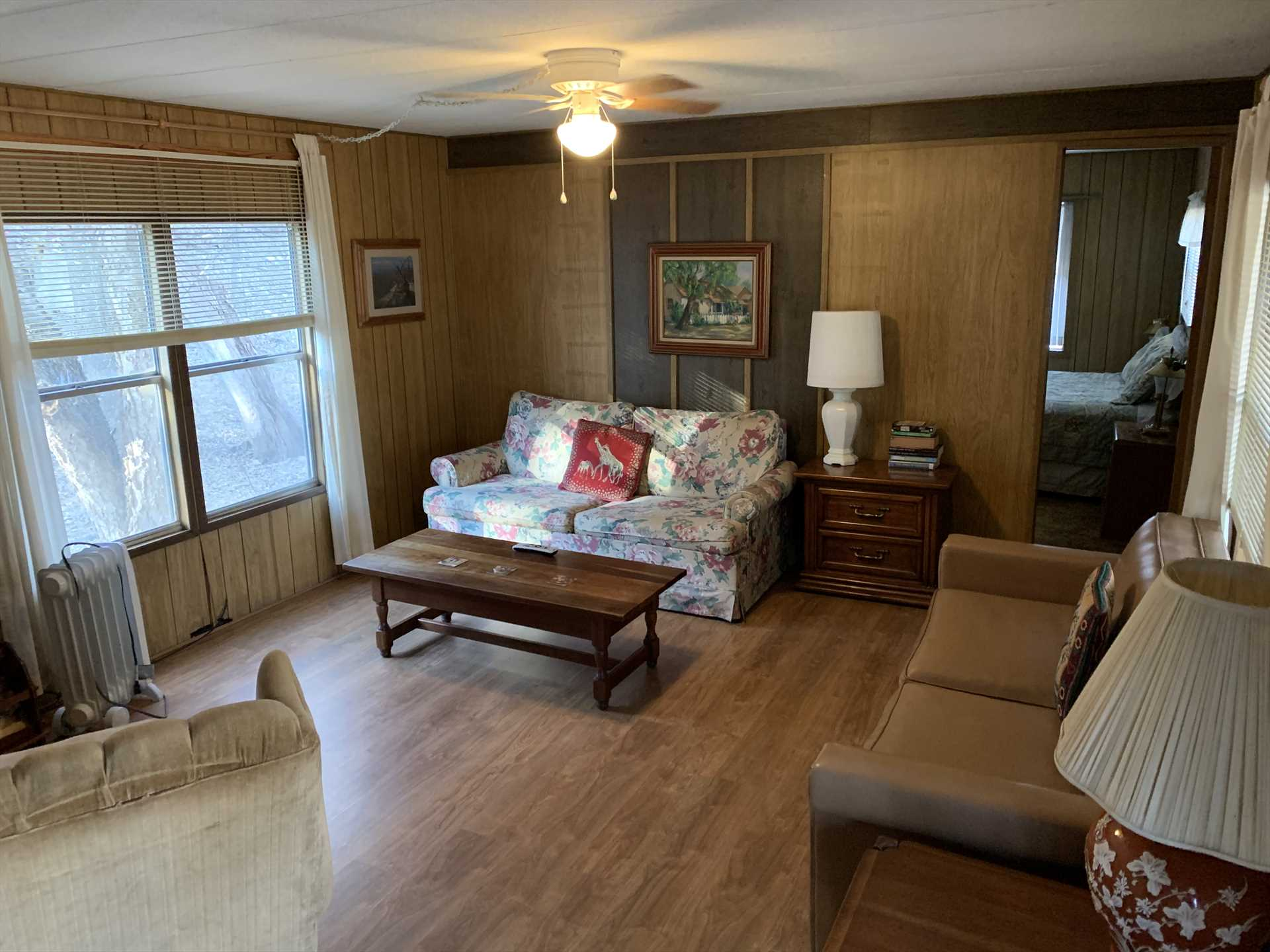 Central AC and heat keep all of Mobile 1 comfortable, and there's a queen sleeper in the living area, all told, this warm and friendly rental sleeps six.
