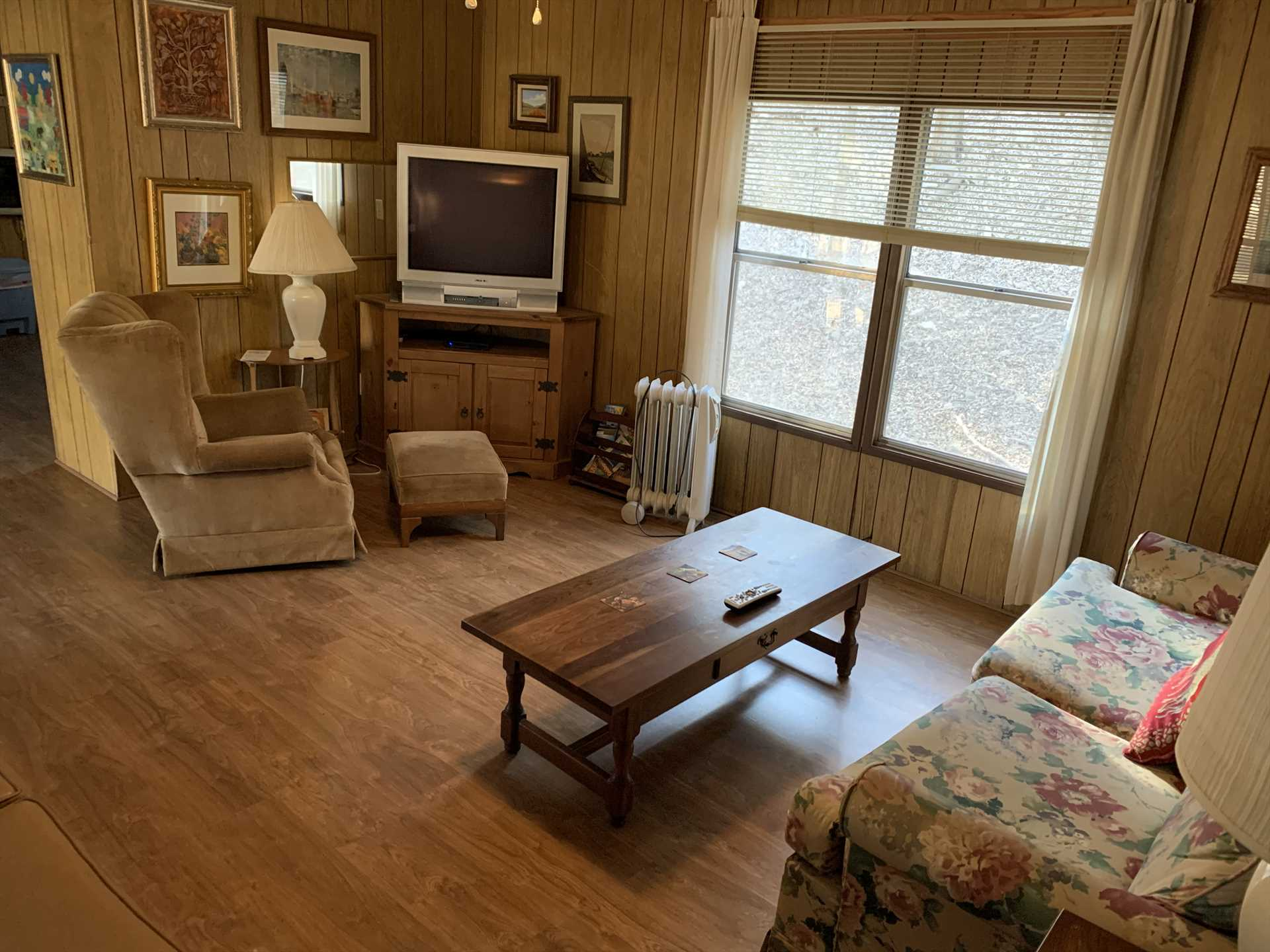 The TV in the living area includes satellite service and a DVD player for your entertainment!