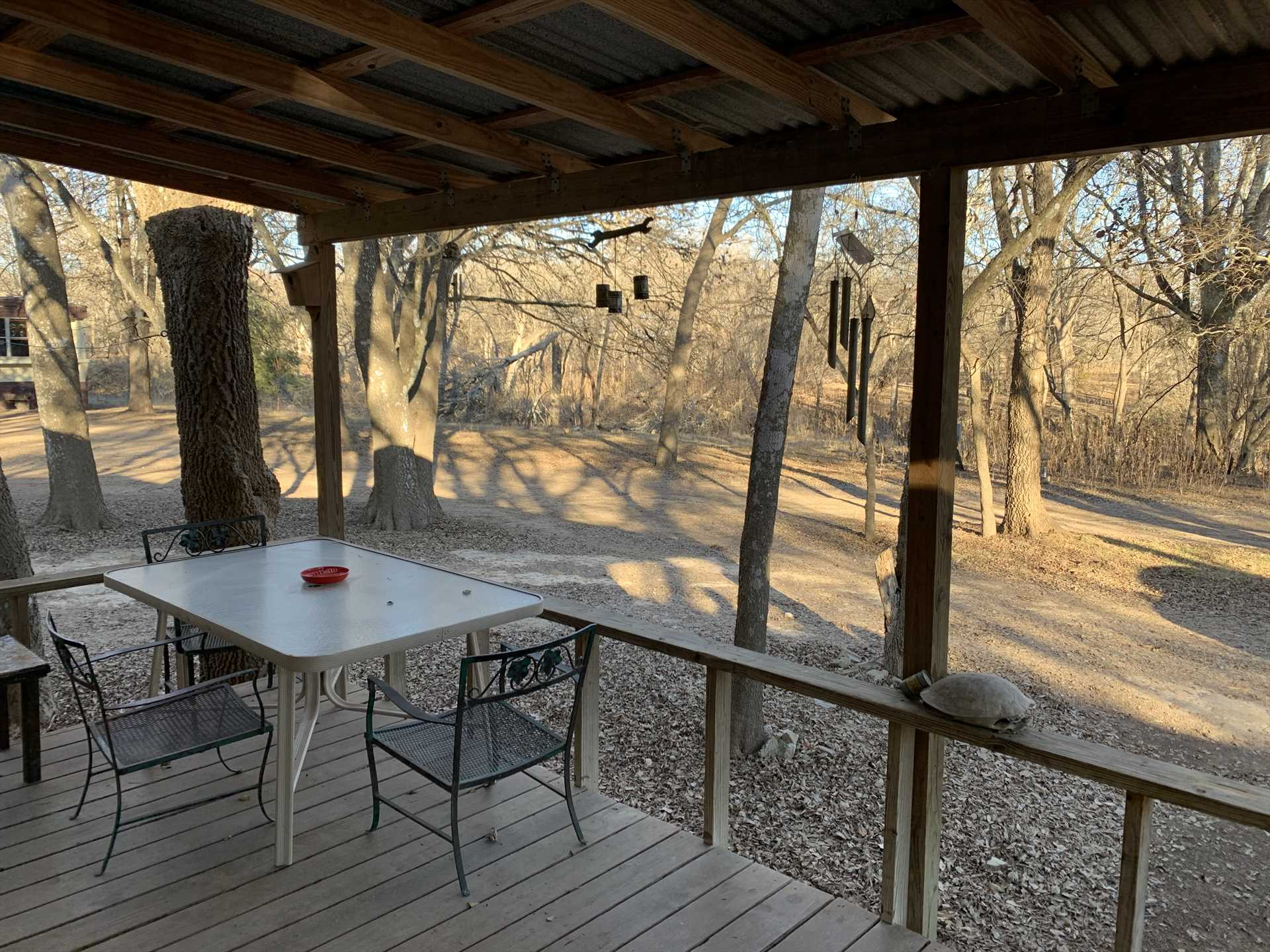 You can almost hear the wind chimes! The shaded patio is a great spot to watch wildlife and admire some of the Hill Country's natural beauty.
