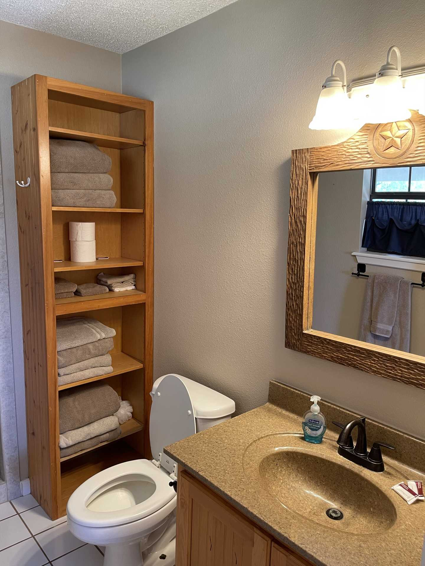 There's a nice, big mirrored vanity in the master bath, too! Plenty of clean bathroom linens are included.