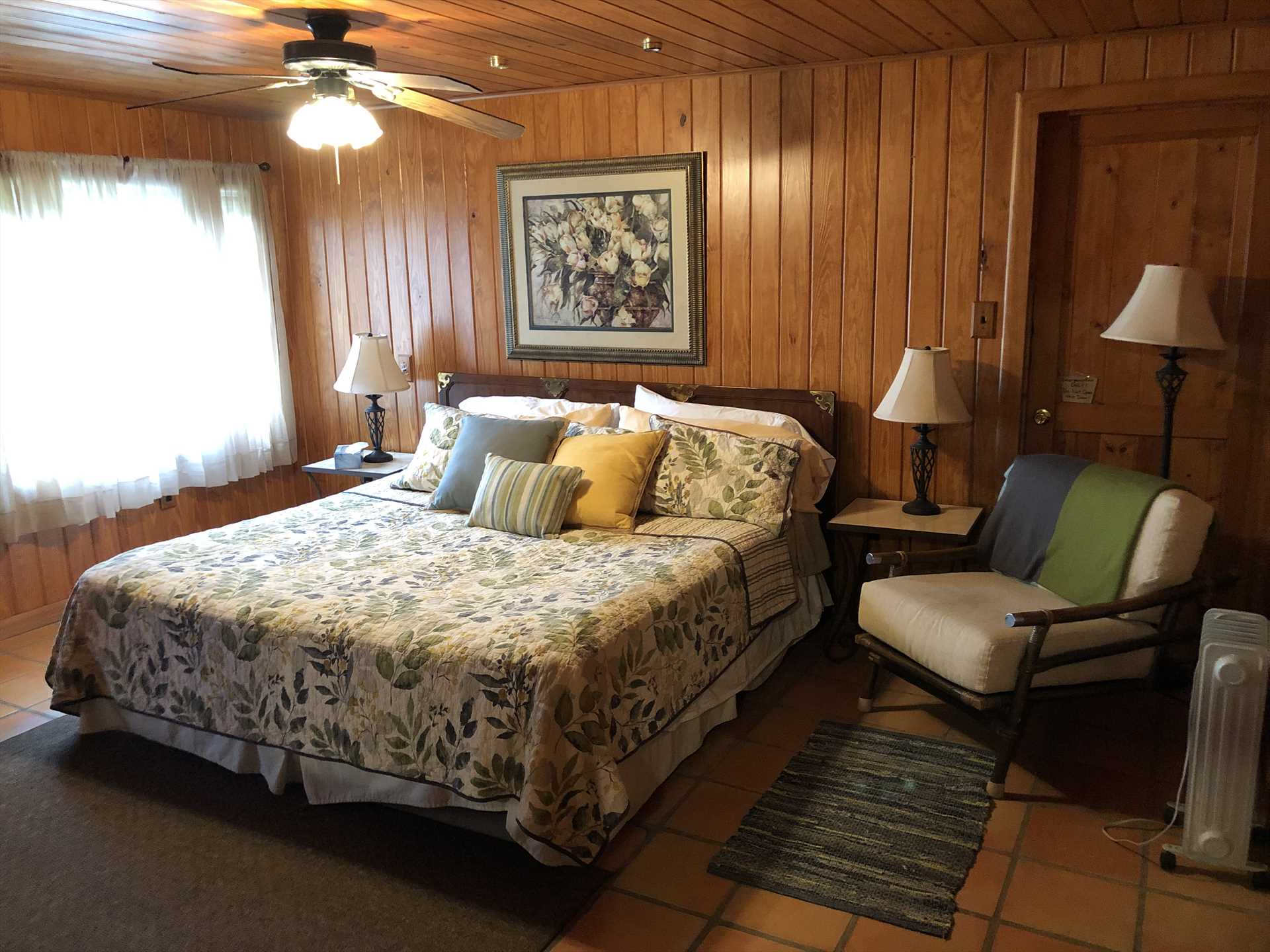 Another king-sized bed graces the second bedroom, both of which are relaxing places to wind down after an adventurous day.