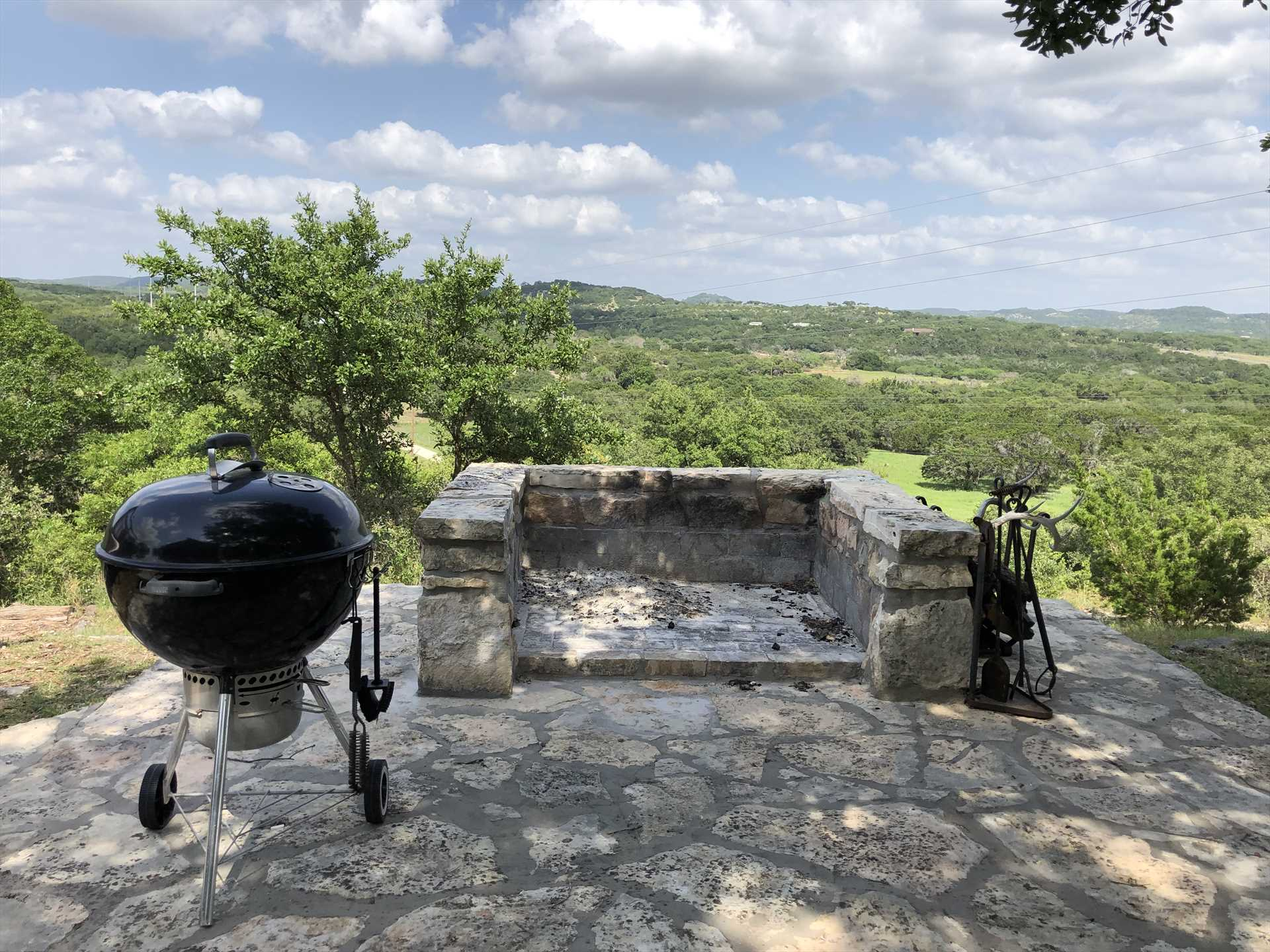 Keep your eyes on your steaks and s'mores as you take advantage of the charcoal grill and fire pit. We know the lofty view can be distracting!
