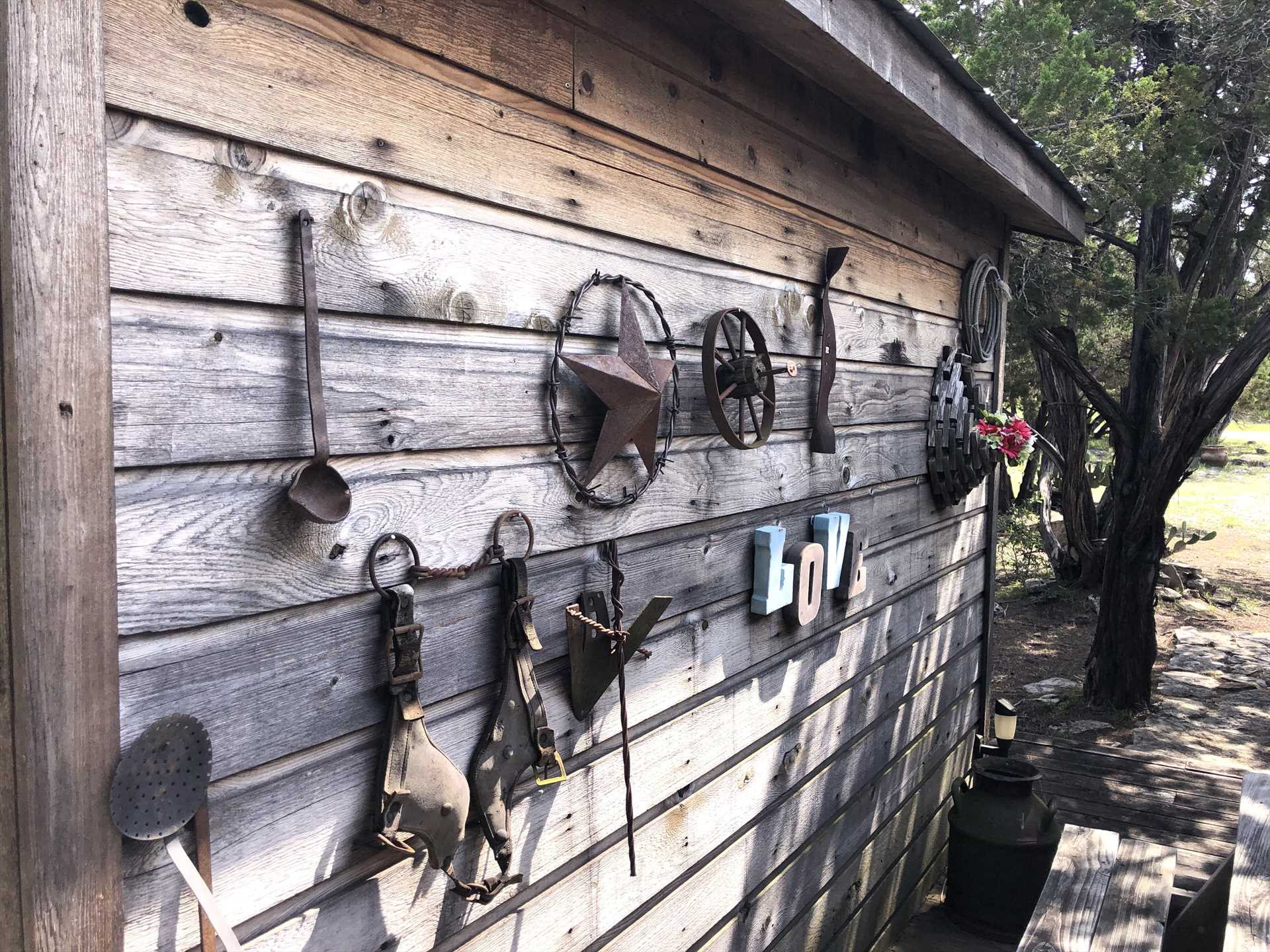 Rustic and fun touches decorate the Love Shack, inside and out!