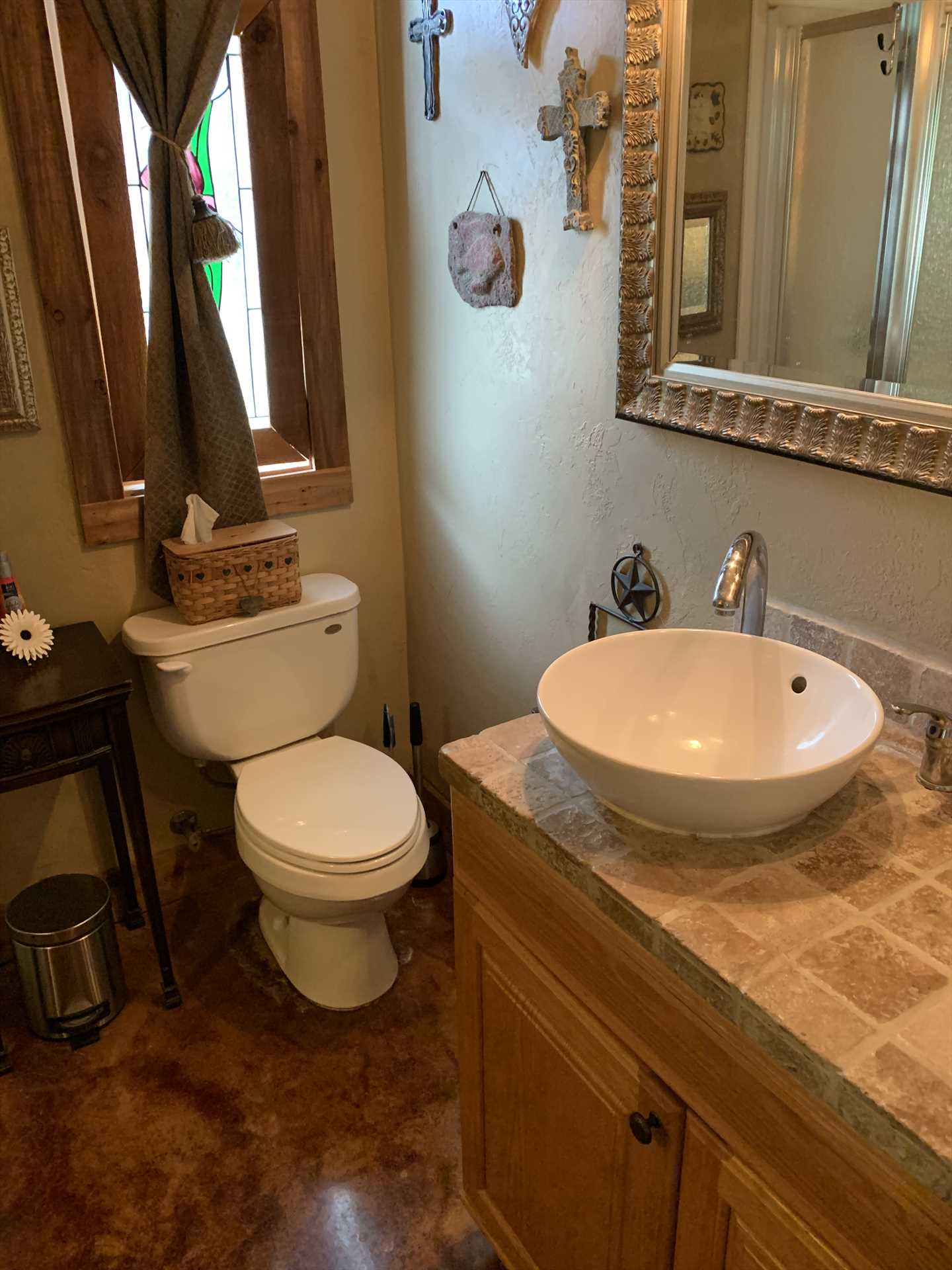Check out the unique bowl-style vanity! All bed and bath linens are included as part of your stay at the Casita.