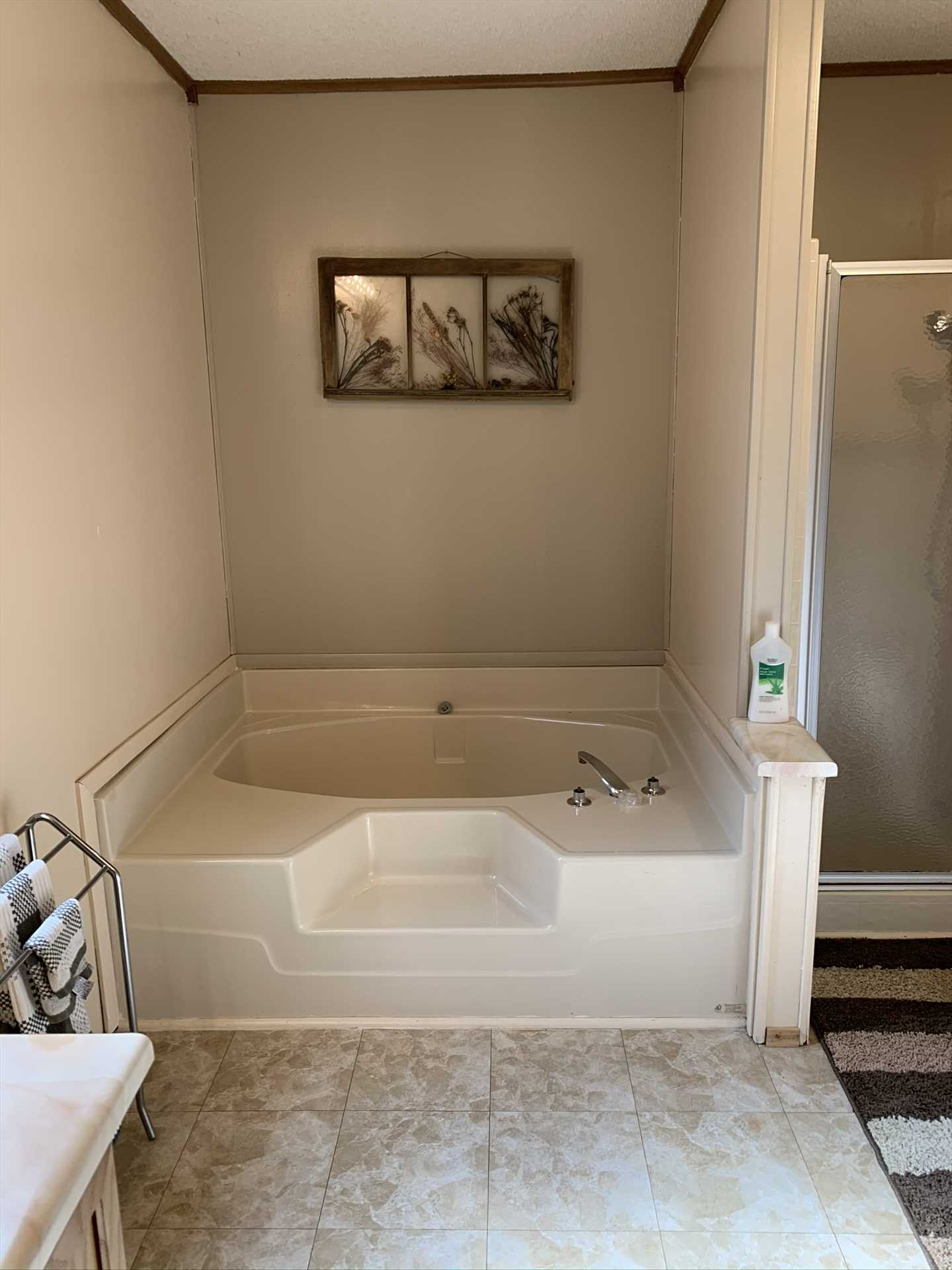 Slow, soothing soak, or quick cleanup? The master bath has you covered both ways, with its garden tub and shower stall.