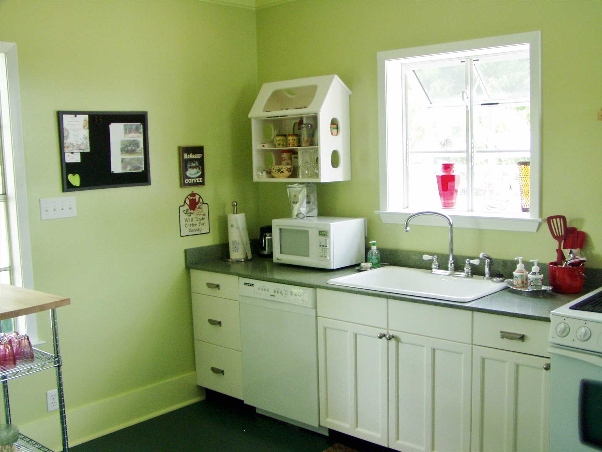 Cooking ware and serving ware are also included here, make some family memories of your own in the homey and functional kitchen.
