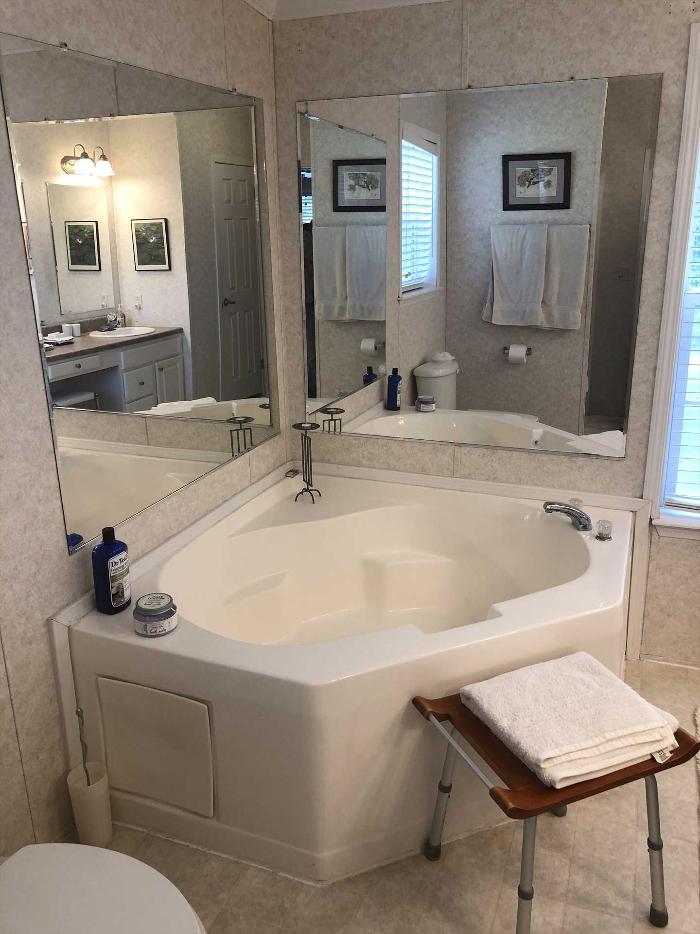 Sink into some soothing suds in the enormous custom tub in the master bath! There's a shower here, too, for quick and easy cleanup.
