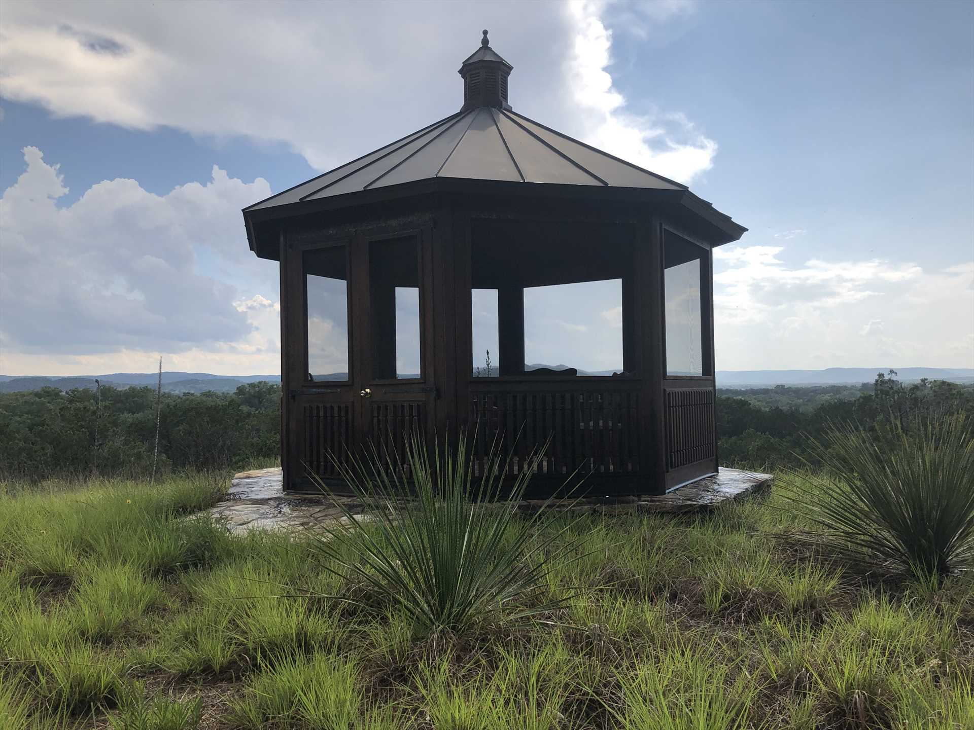 This hilltop gazebo is a prime spot for conversation, relaxation, wildlife watching, and stargazing!