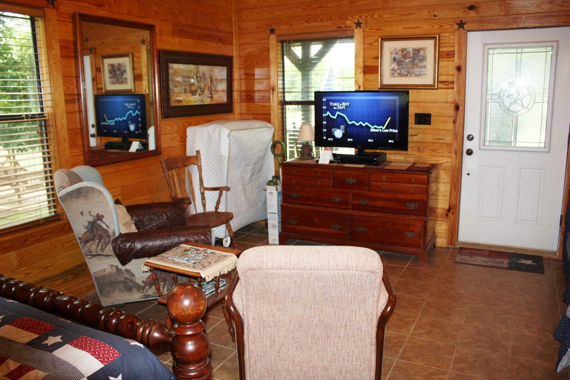 Matching woodwork and flooring give the cabin a warm glow, which is also equipped with satellite TV, wireless Internet, and super-comfy AC and heating.