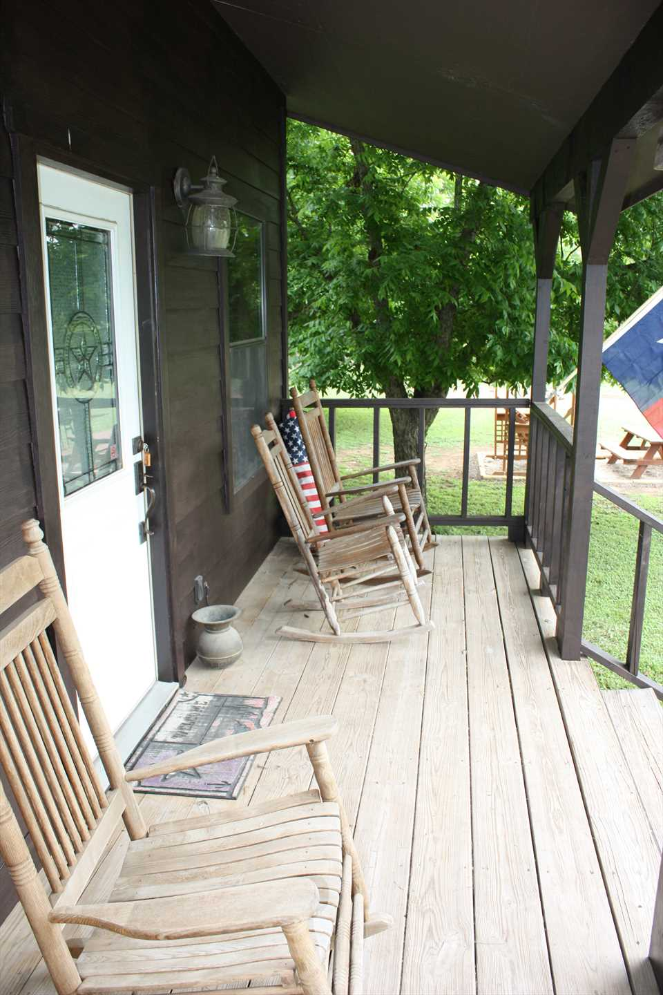 Stretch your legs and enjoy a peaceful moment or two on the country-style rockers on the front porch!
