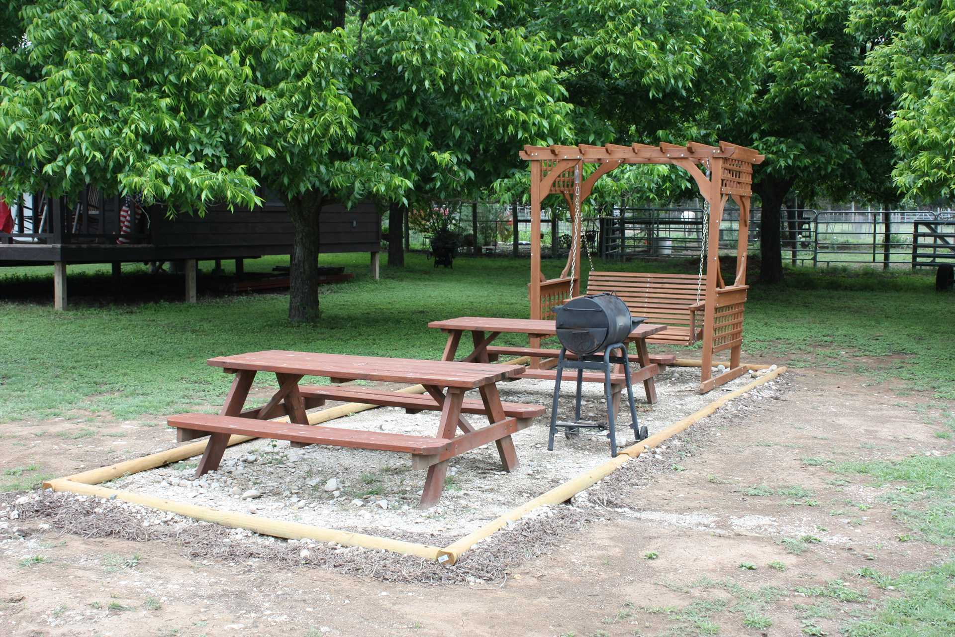 BBQ central! Grill up something special, and enjoy your feast under the pecan trees.