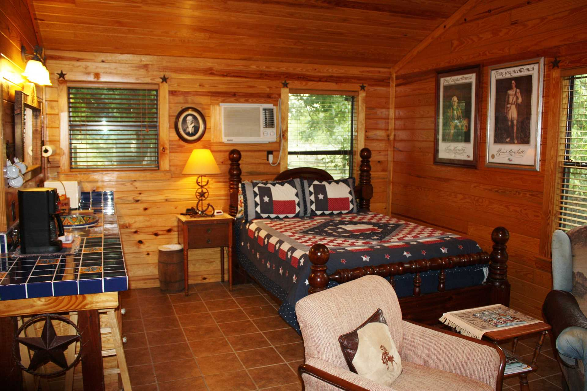 What a beautiful interior space! A big queen bed and two twins offer restful slumber for up to four guests, and all bed and bath linens are provided.