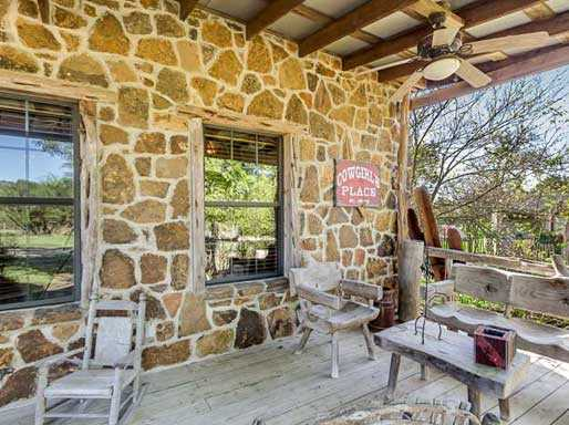 Rustic and sturdy stone and wood construction give the Ranch House that authentic Texas pioneer look and feel.