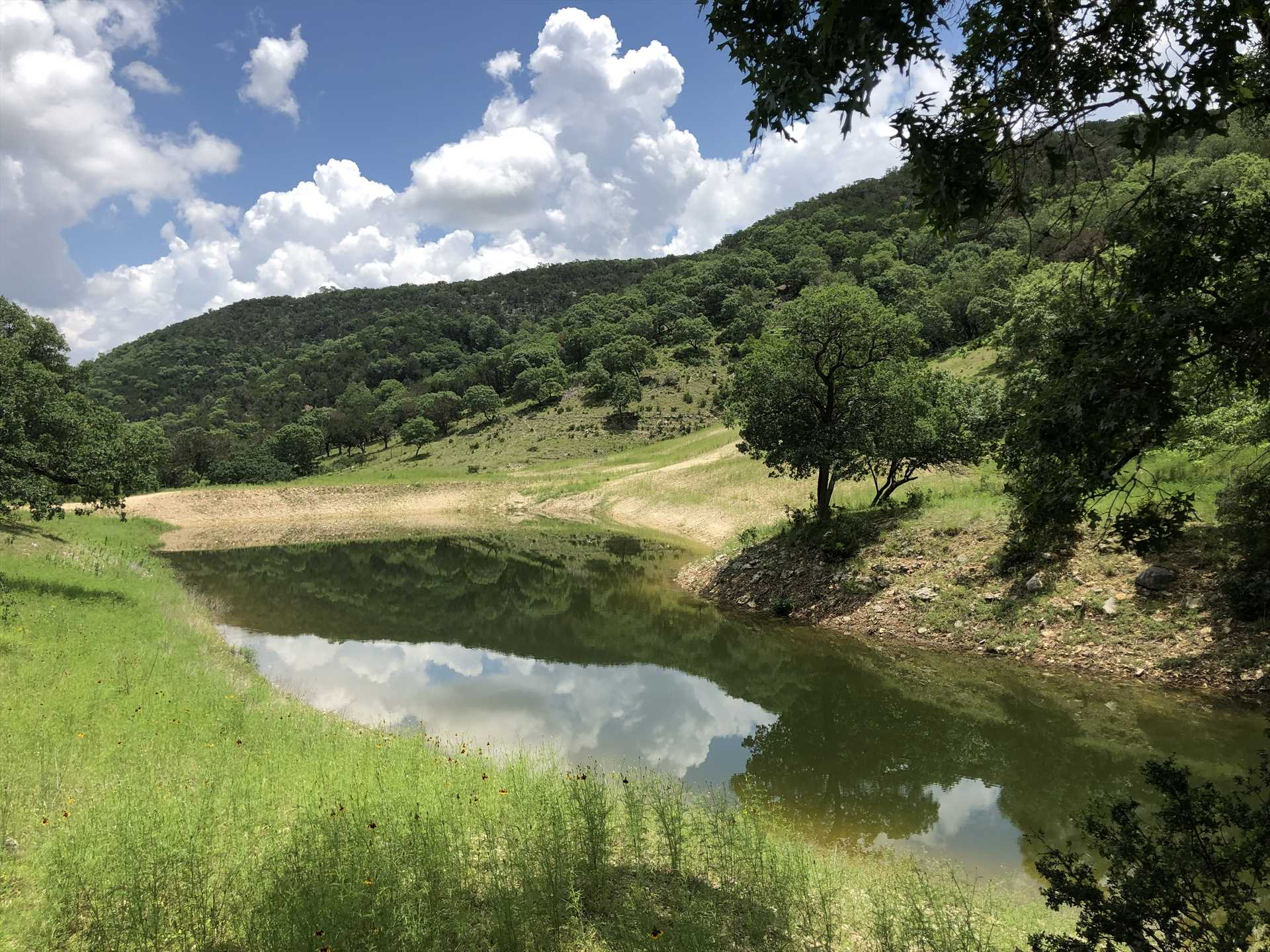 You're free to fish the seasonal creek when the water level's up, but just kicking back and enjoying the view's cool, too!
