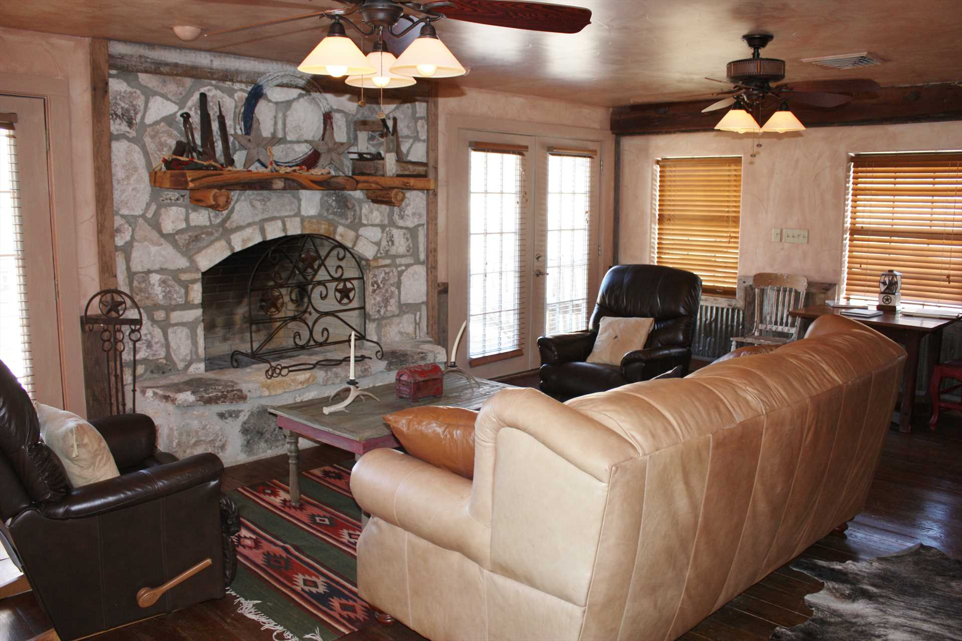 Both the upstairs and downstairs living areas at the ranch feature the welcoming ambience created by fireplaces.