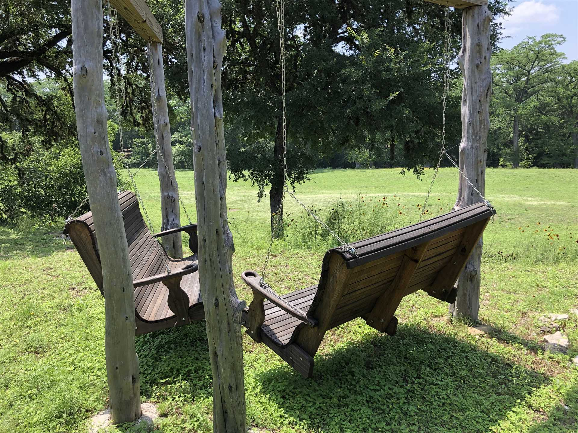 The twin swings at Rocky River are wonderful for snuggling, stargazing, and wildlife watching.