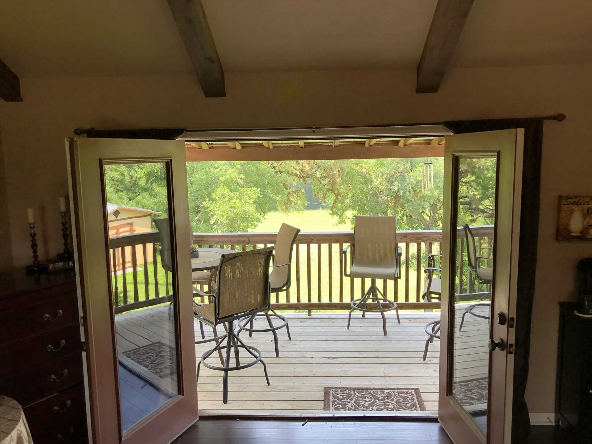 Step out from the master suite onto your own private deck! Sip your morning coffee and greet the day with some amazing Hill Country views.