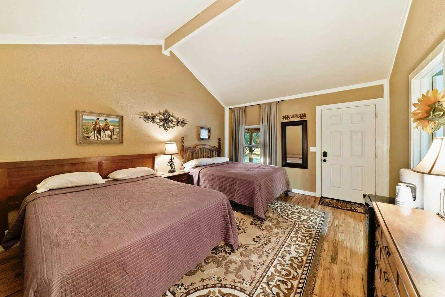 Two big queen-sized beds offer a soft and comfortable place to recharge and look forward to your next Hill Country morning!