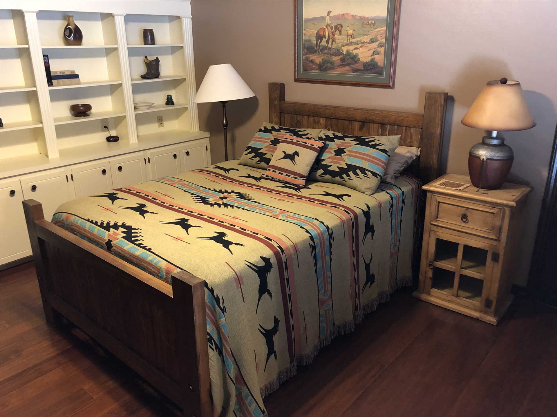 Cowboy touches grace the first bedroom, as well as a big, soft, and comfortable queen-sized bed.