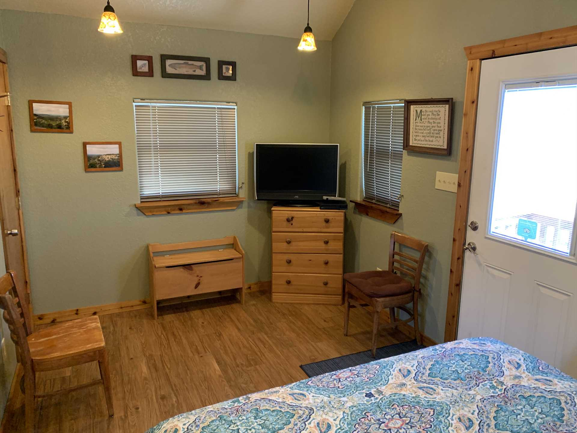Central air, heat, and ceiling fans keep you comfy during your stay! There's also a TV with a DVD player, and a CD player, for your entertainment.