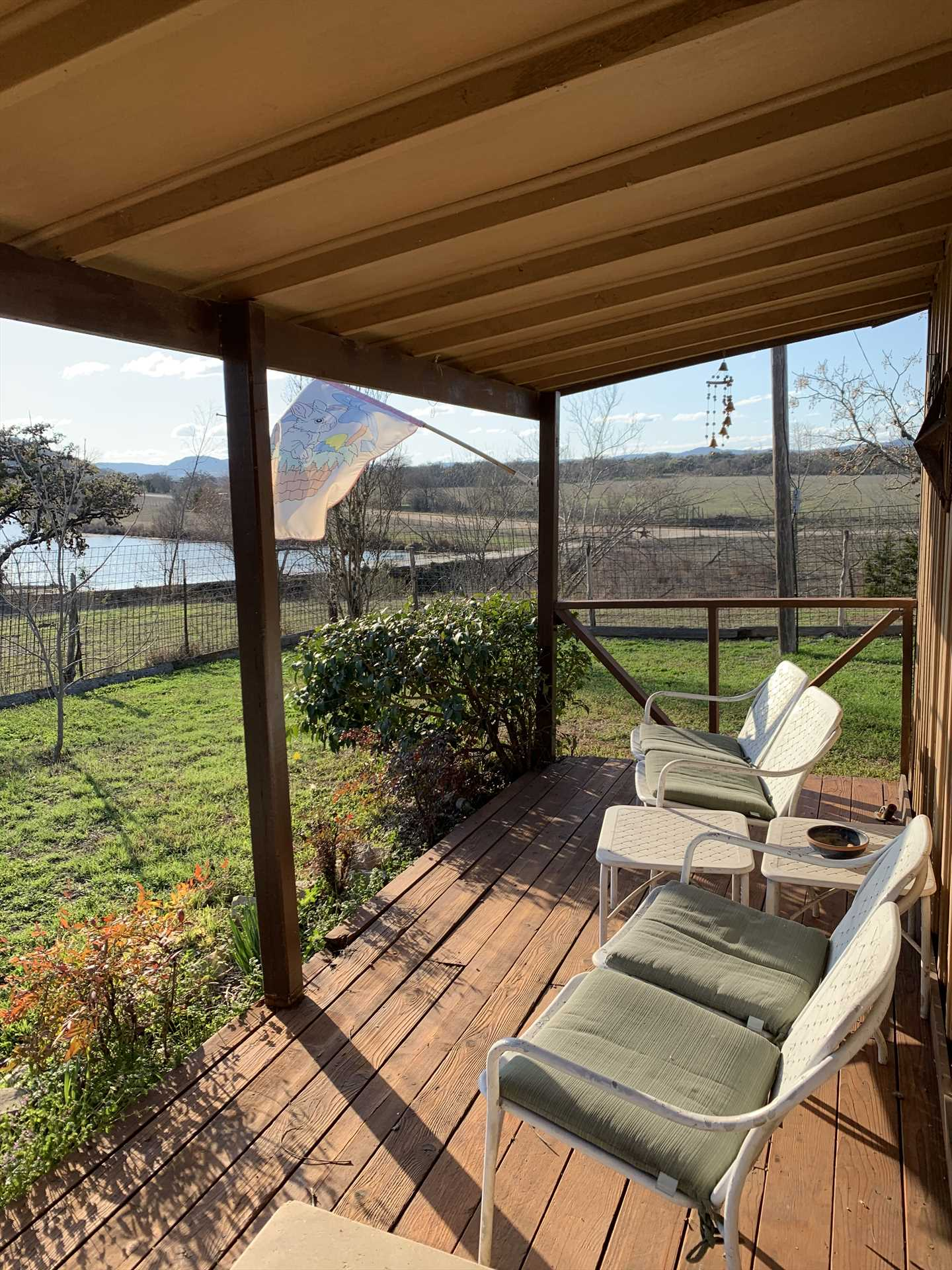 Shade falls on the front porch the hotter part of the day, so you can enjoy those amazing Hill Country views in comfort!
