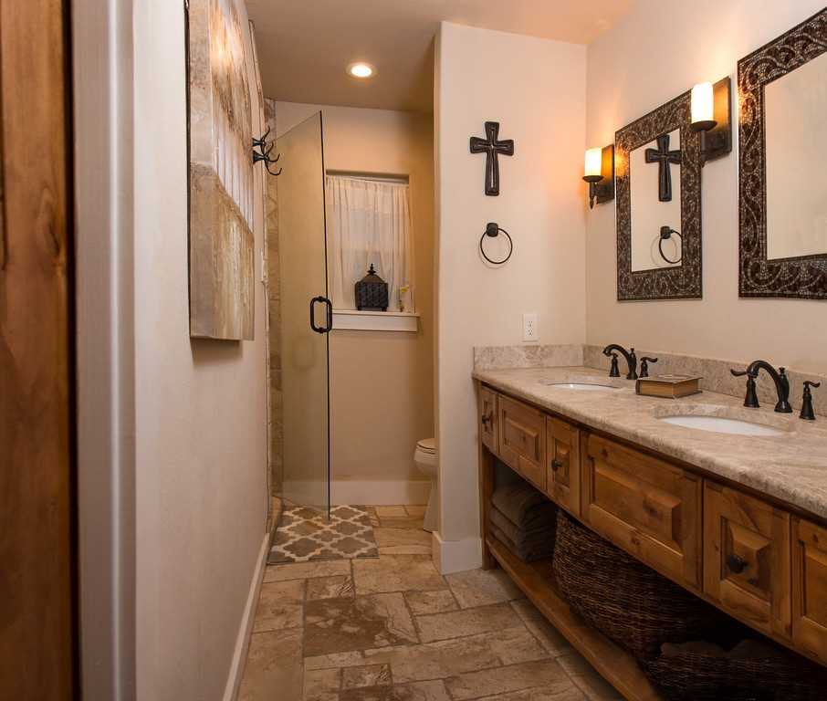 Cleanup's a breeze in the second bath, which features a roomy walk-in shower!