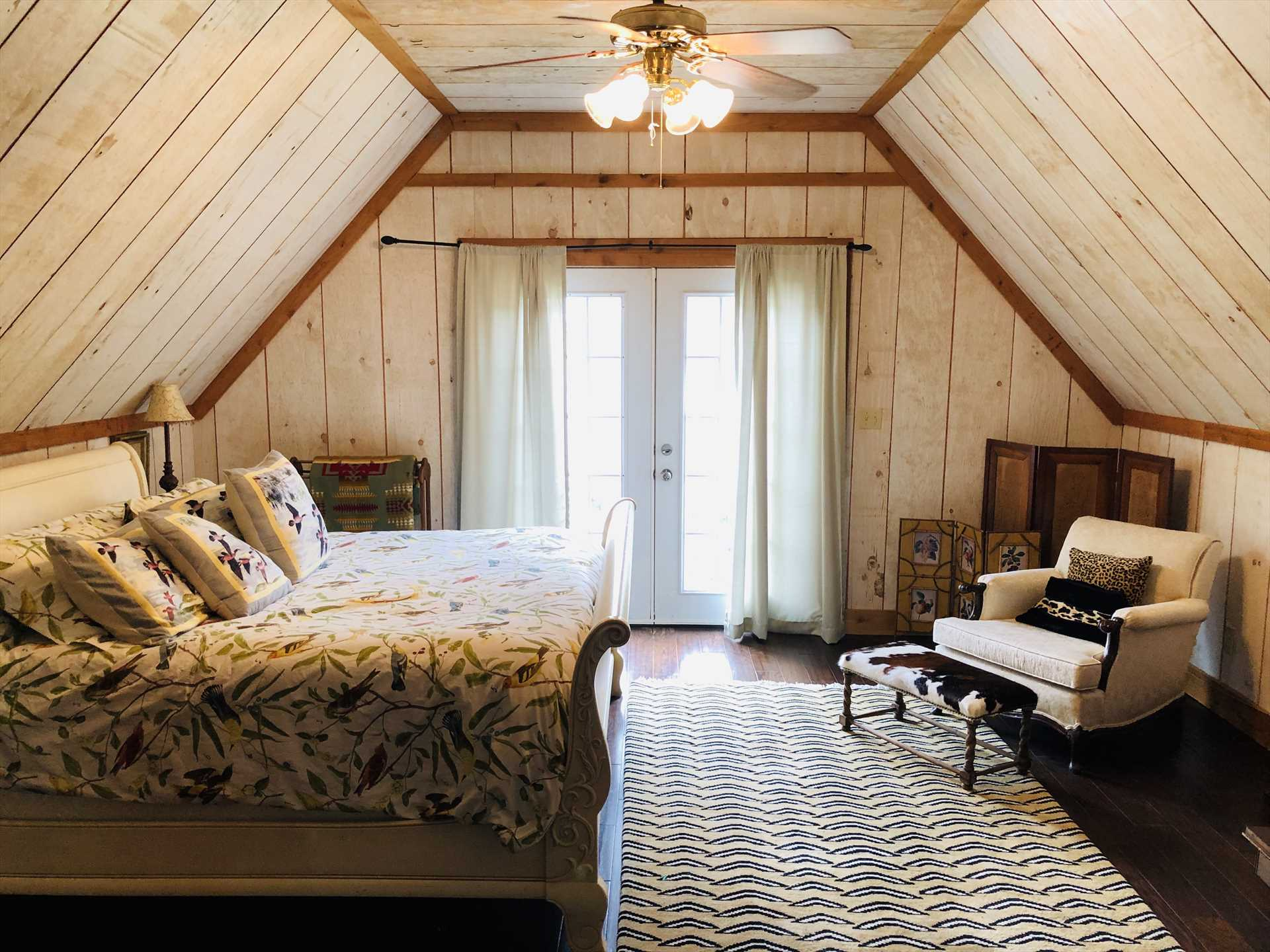 A great big king-sized bed is the perfect place for pillow talk and restful slumber in your Hill Country haven.