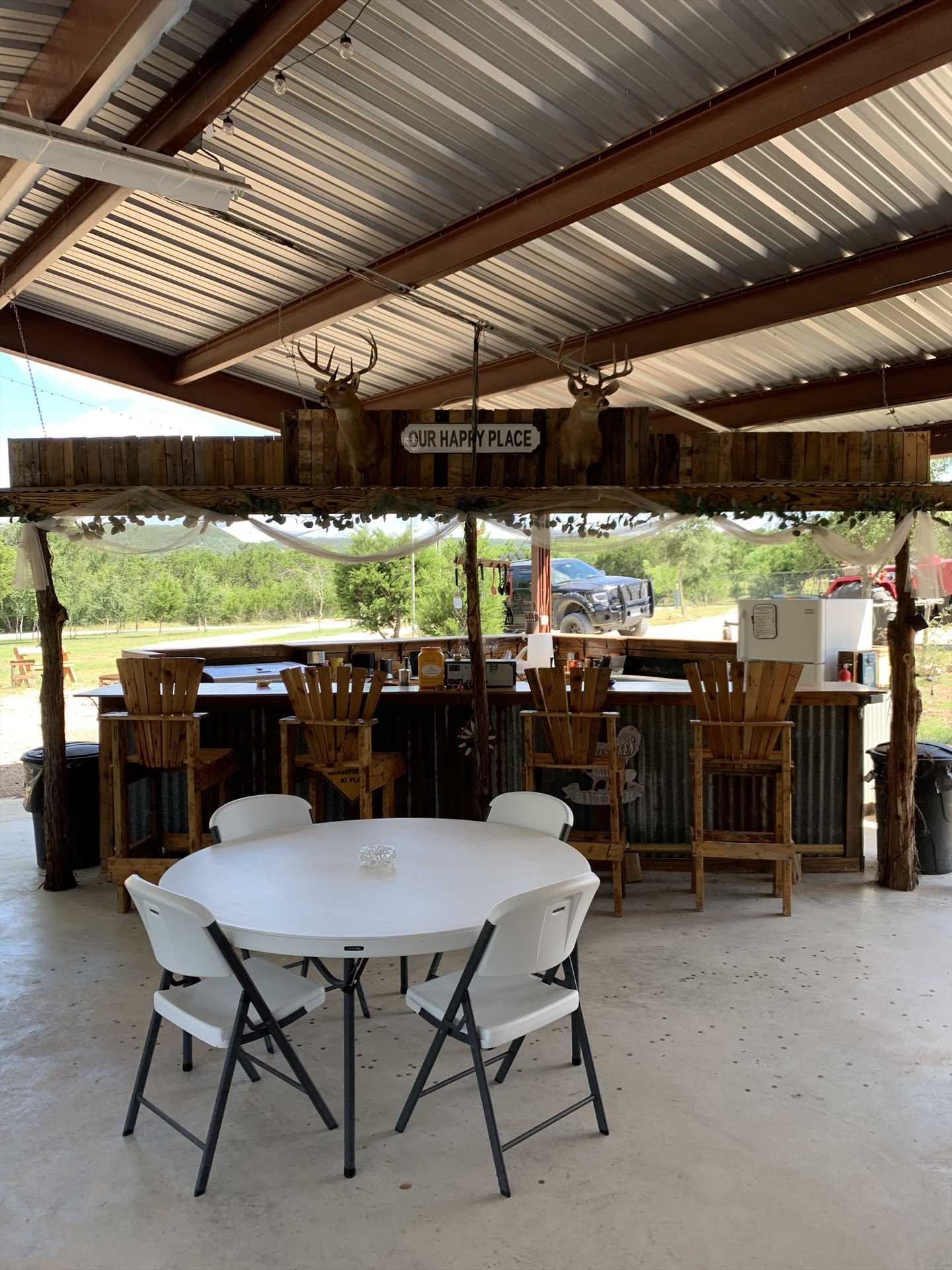 Forge new friendships in the pavilion, a shared space at Al's Hideaway where fellow travelers can meet.
