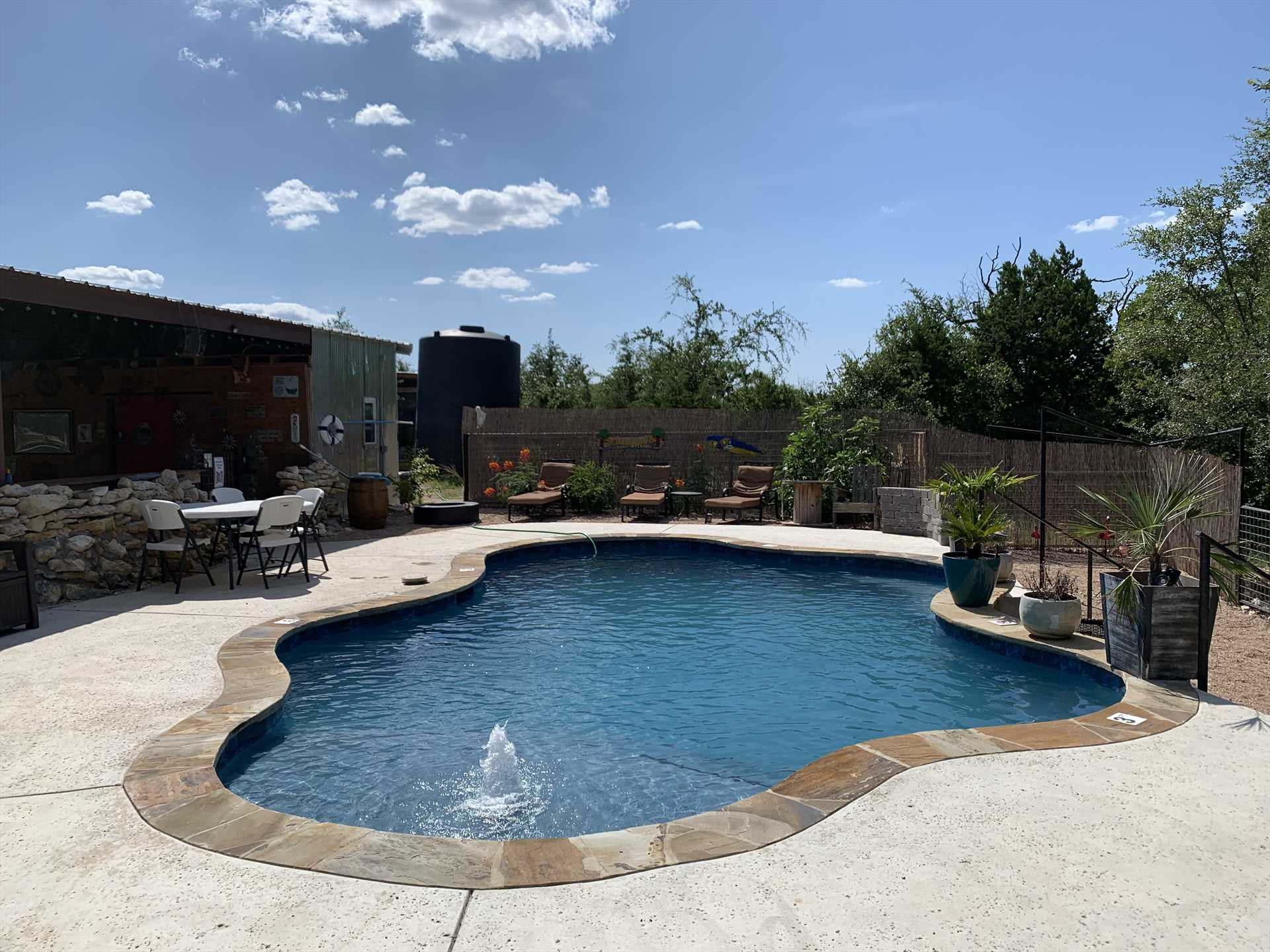 Take the sizzle out of the Texas heat with a cooling dip in the pavilion pool!