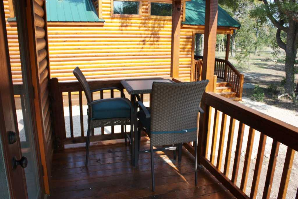 The shaded deck provides an intimate little nook for your morning coffee.