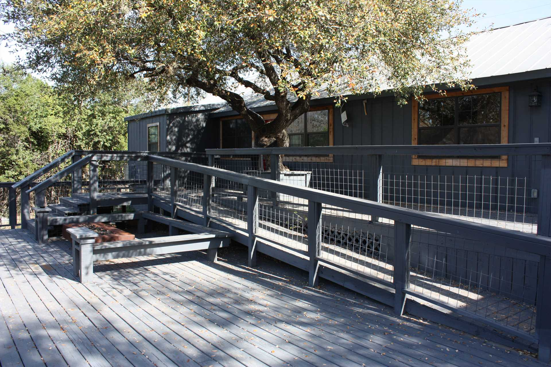 Shady spots, plenty of seating, great stargazing, and great Hill Country views are all in store on the enormous multi-level deck!