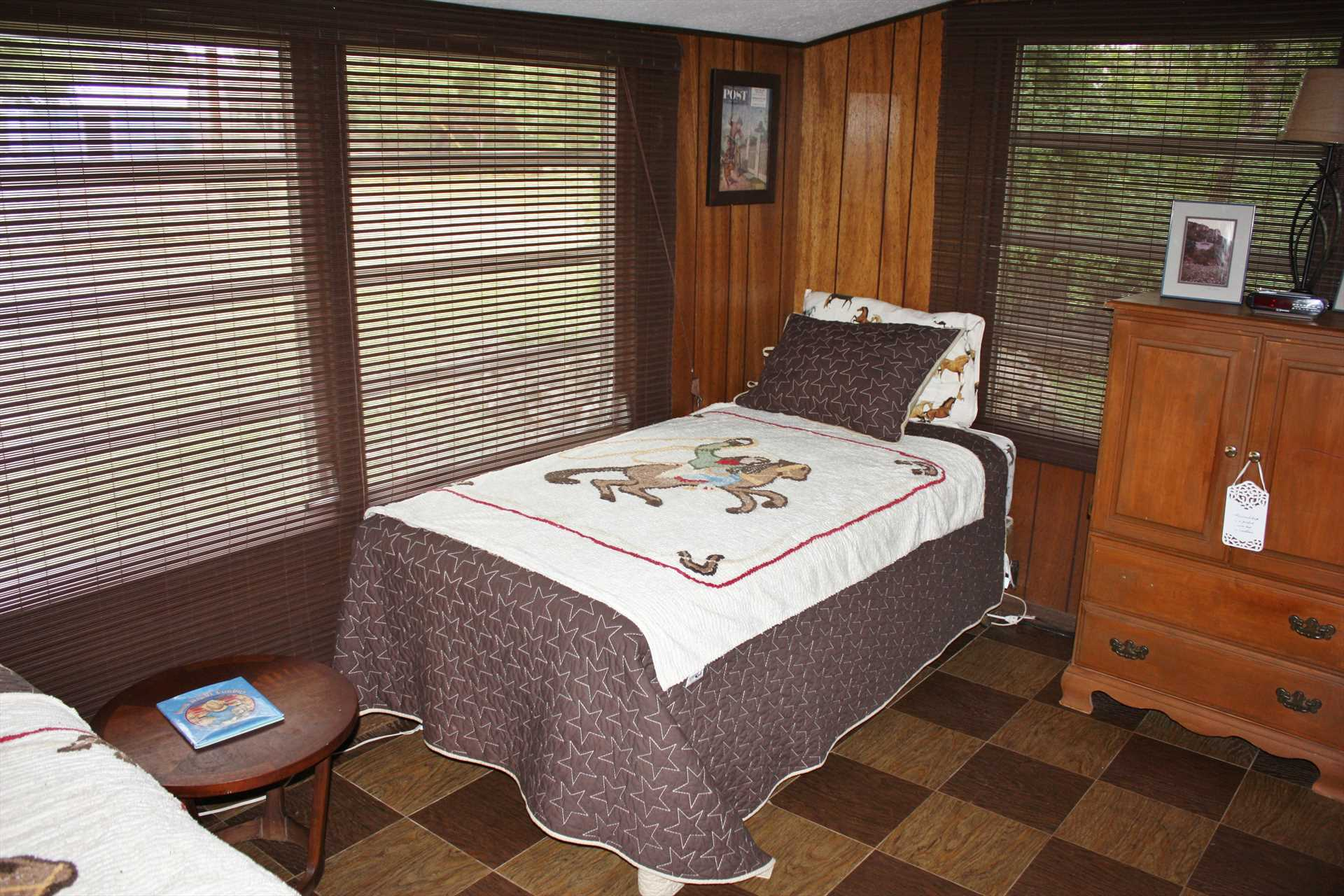 Two twin beds offer comfortable slumber for those in the first bedroom. All bed and bath linens for everyone are included during your stay.