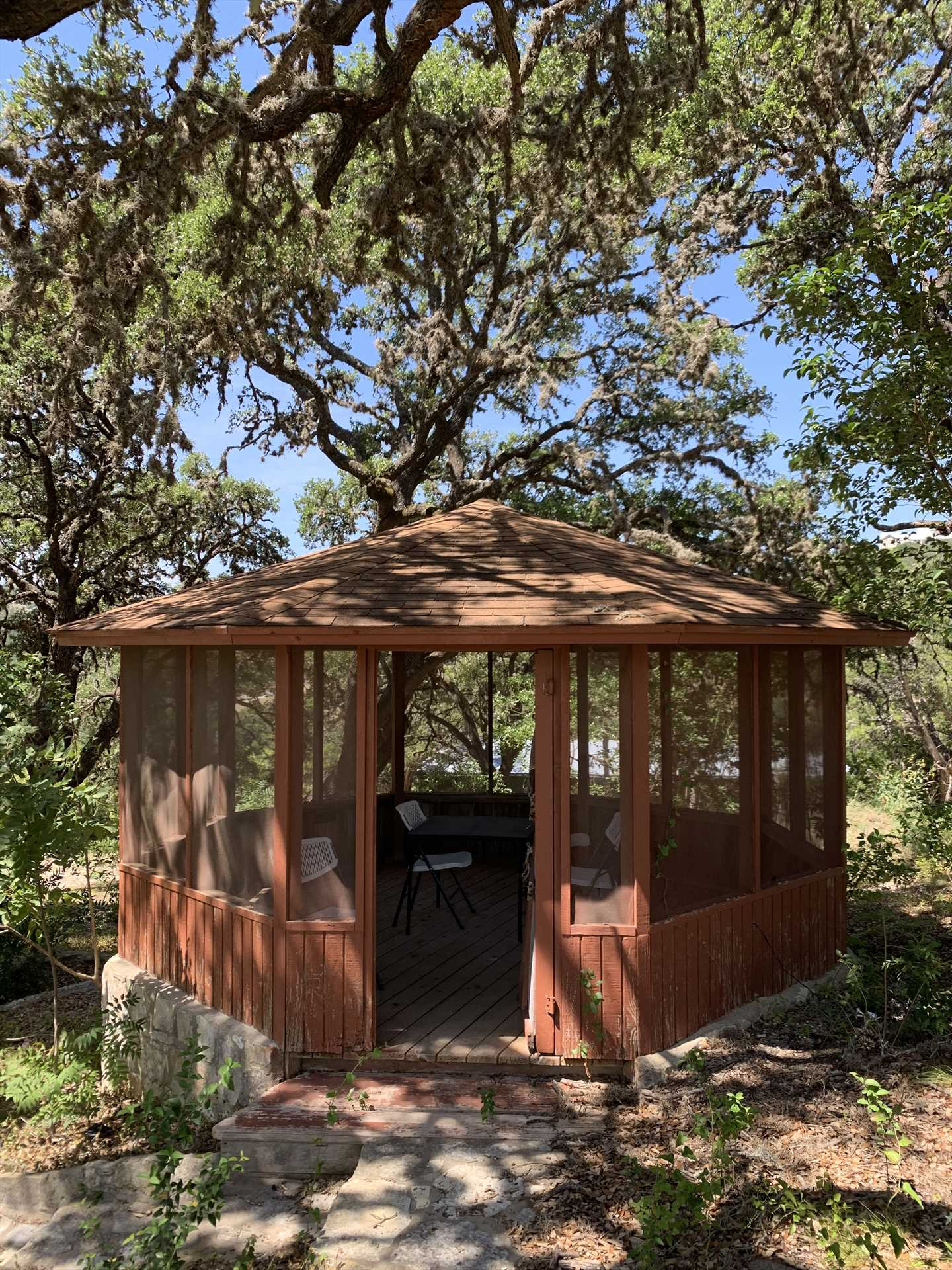 The quaint gazebo on the ranch is situated perfectly in a cool and shady spot!
