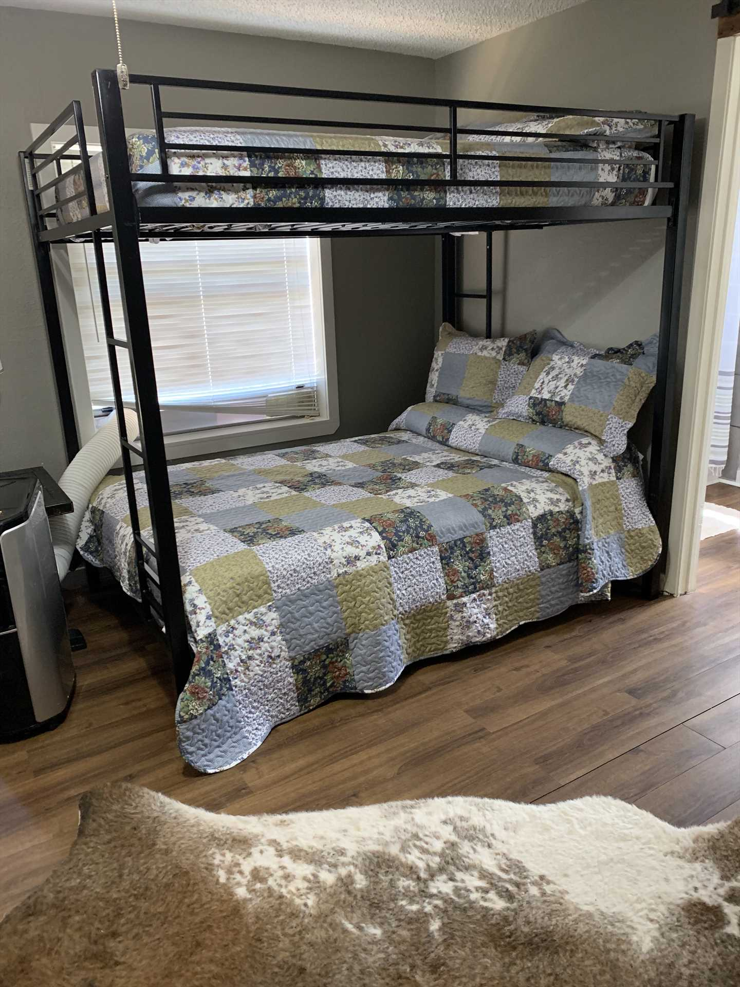 Soft and clean bed and bath linens are included at the cabin for all our guests! There's also a washer/dryer combo for your convenience.
