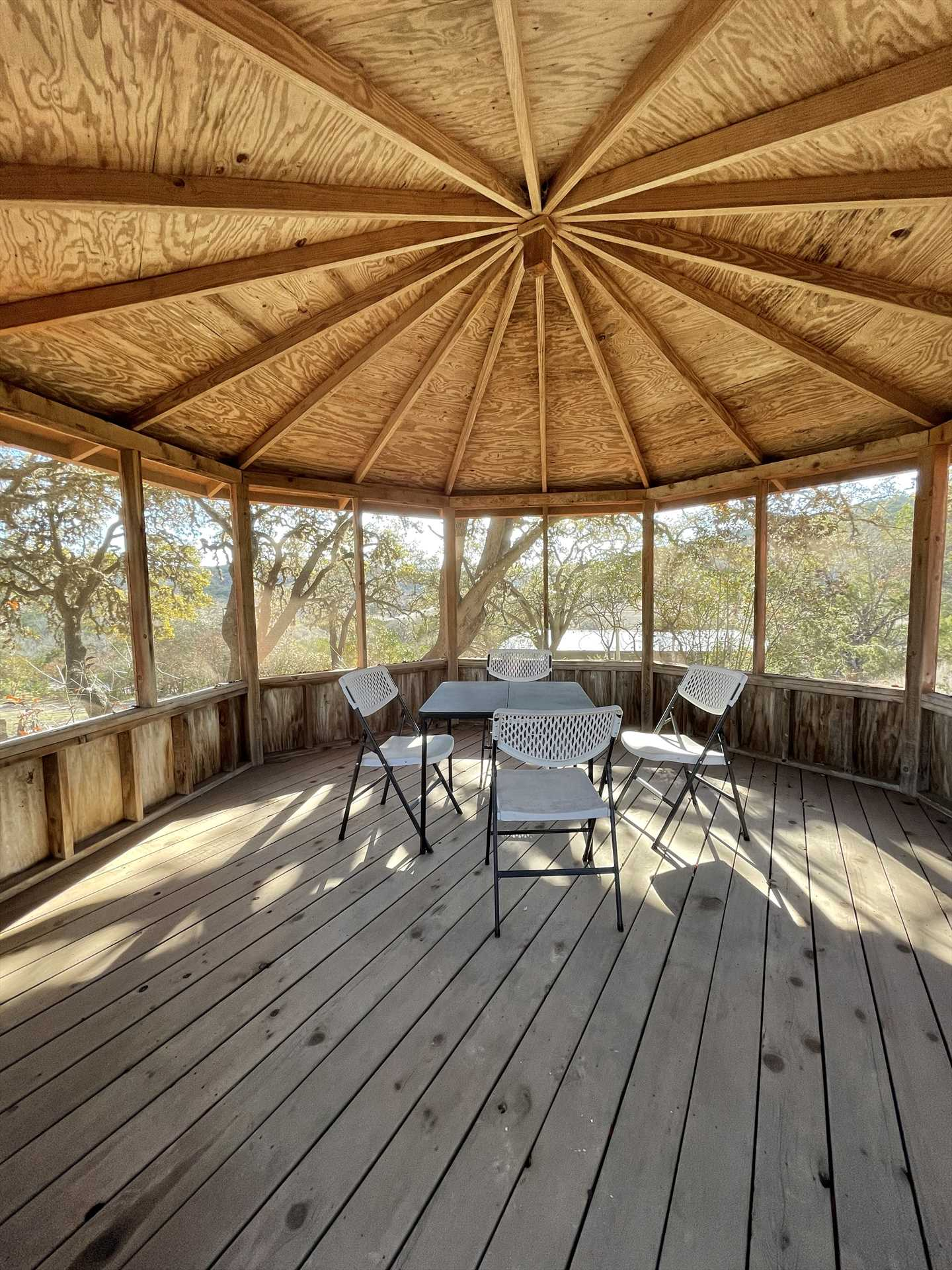 The shaded cover of the gazebo offers 360 degrees of Hill Country views.