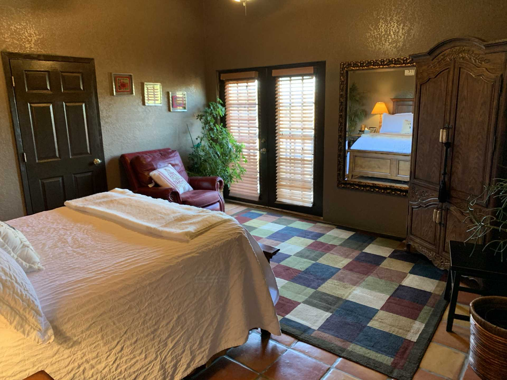 French doors in both the bedroom and living area allow you to let in plenty of natural light, and inspiring Hill Country panoramas.