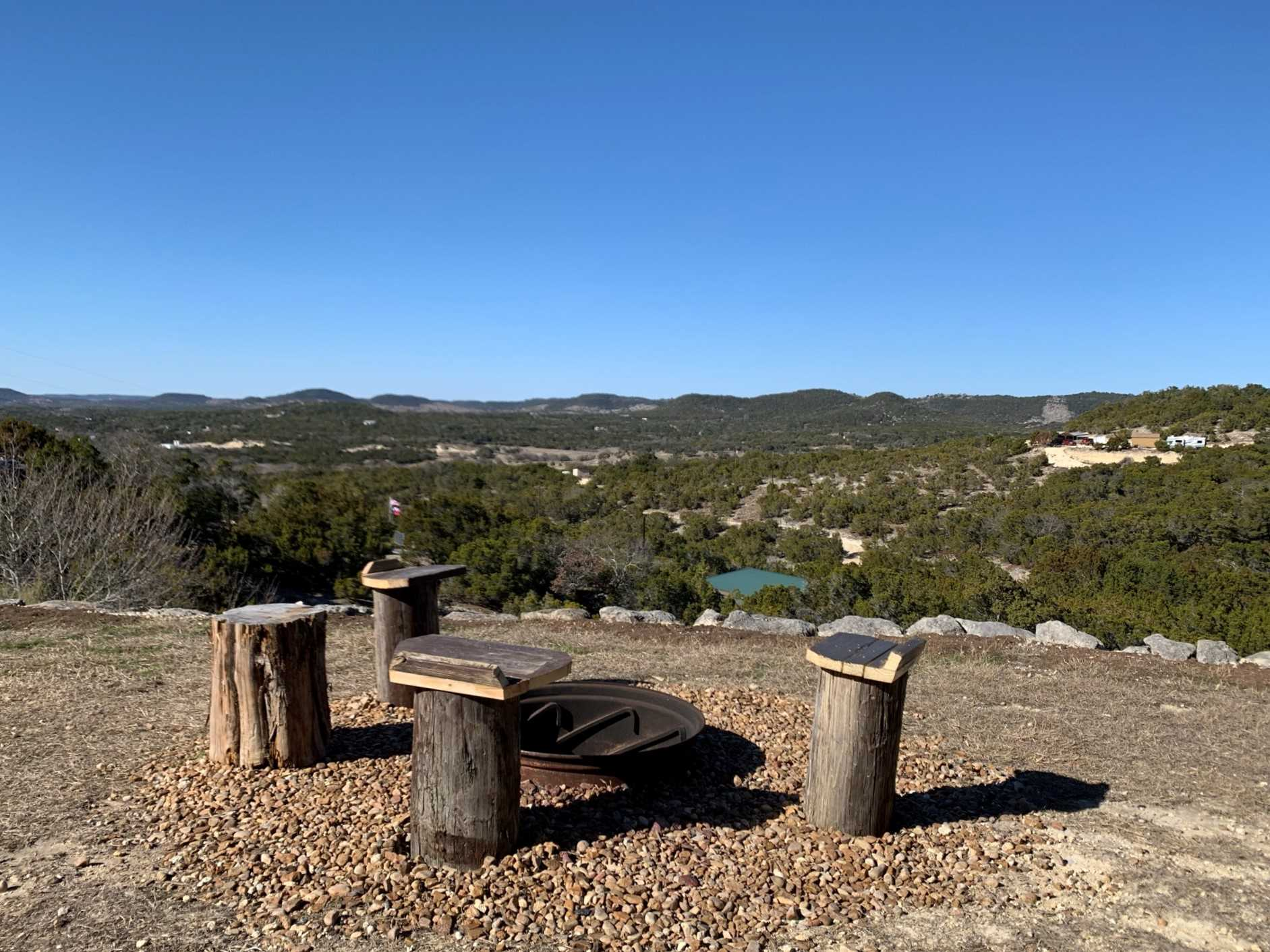 Day or night, the views from the cliffside fire pit are a hit with our guests!