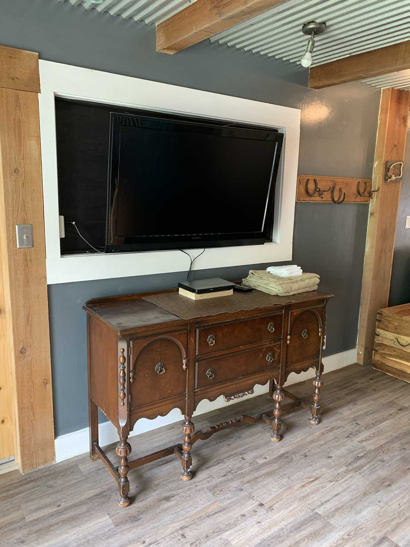 Your stay at the Hideaway includes TV with Roku and cable channels and Wifi Internet service.
