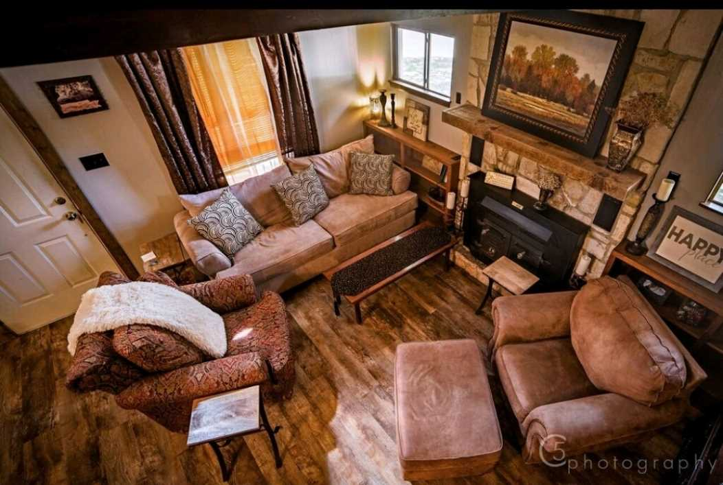This high-angle POV of the living area shows off all the design considerations that make the Homestead such a soothing place to visit. There's also satellite TV and Wifi here!