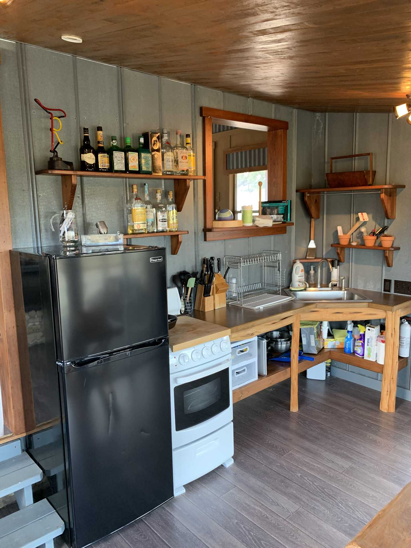 Plenty of utensils and appliances for a BBQ feast are available in the pavilion! Please help us keep this space neat, as it is shared by all our guests.