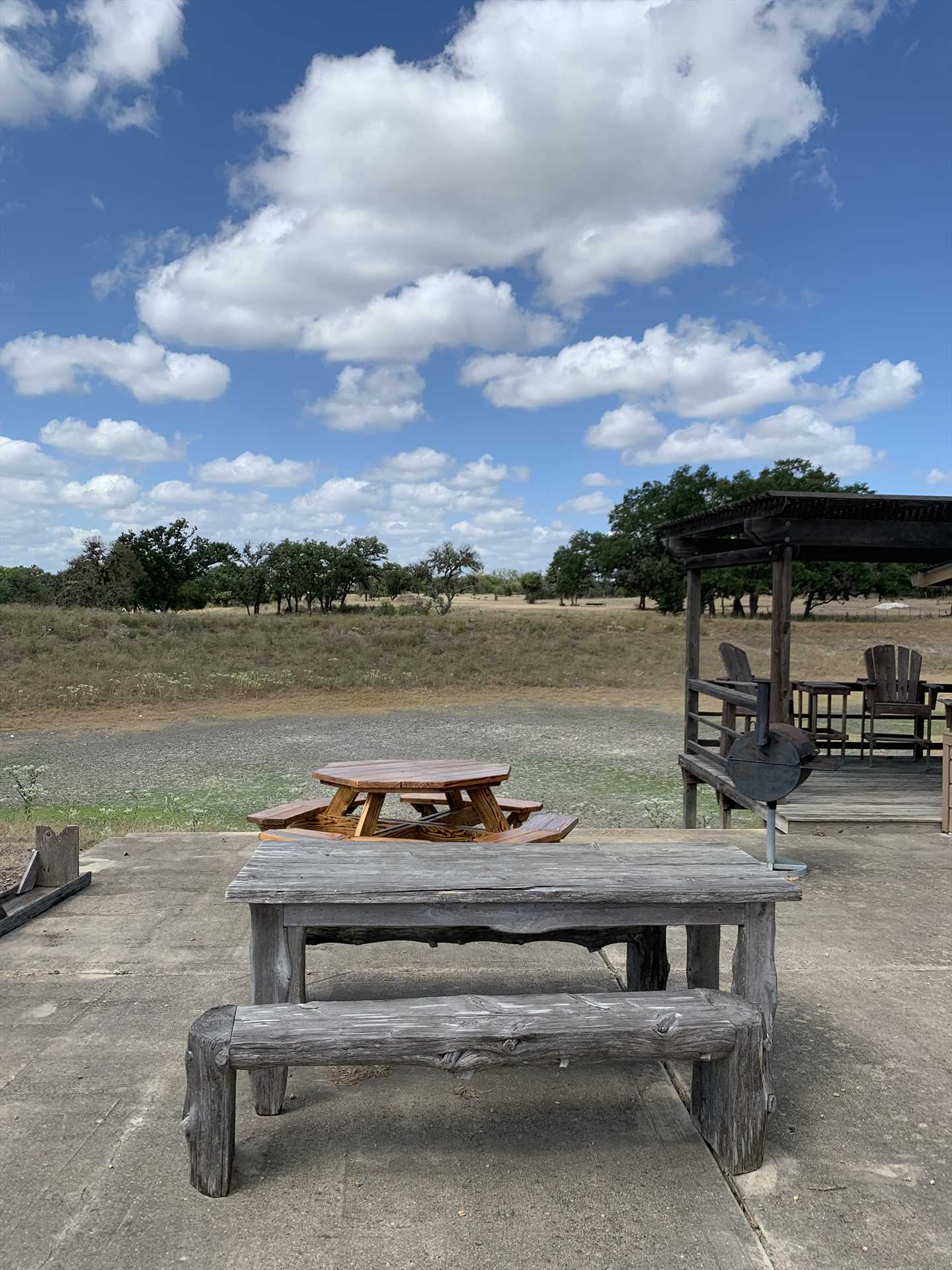 Dig in for a genuine Texas BBQ feed at the pavilion! It has plenty of open-air dining space.