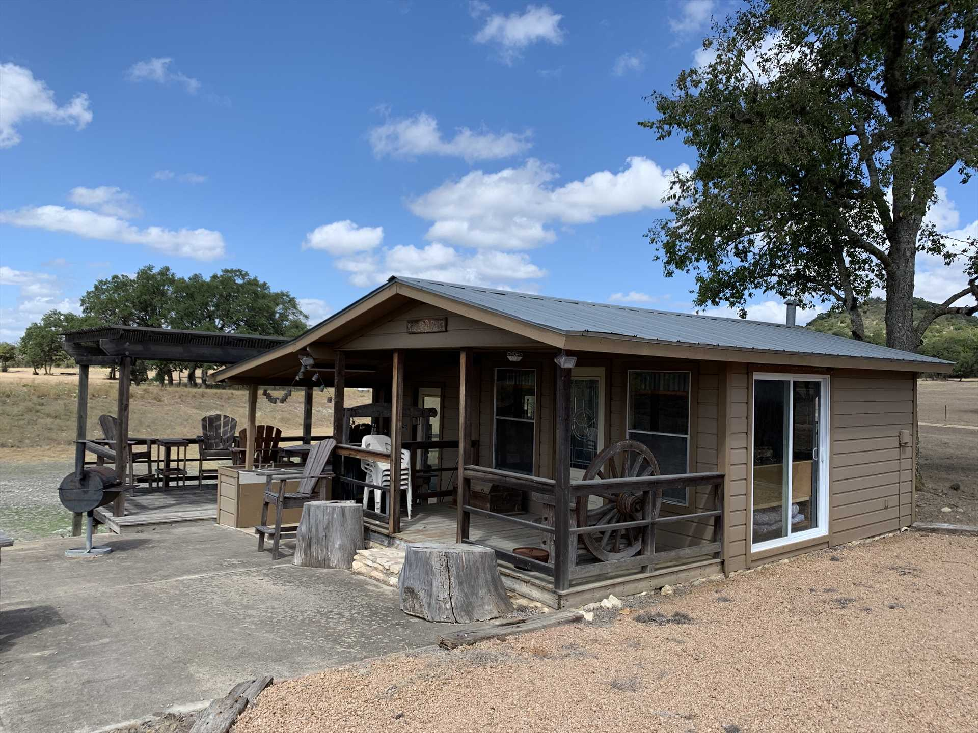 Feeling social? The shared pavilion space is shared with the other cabins at the ranch, and it provides a great space to mingle with your fellow travelers!