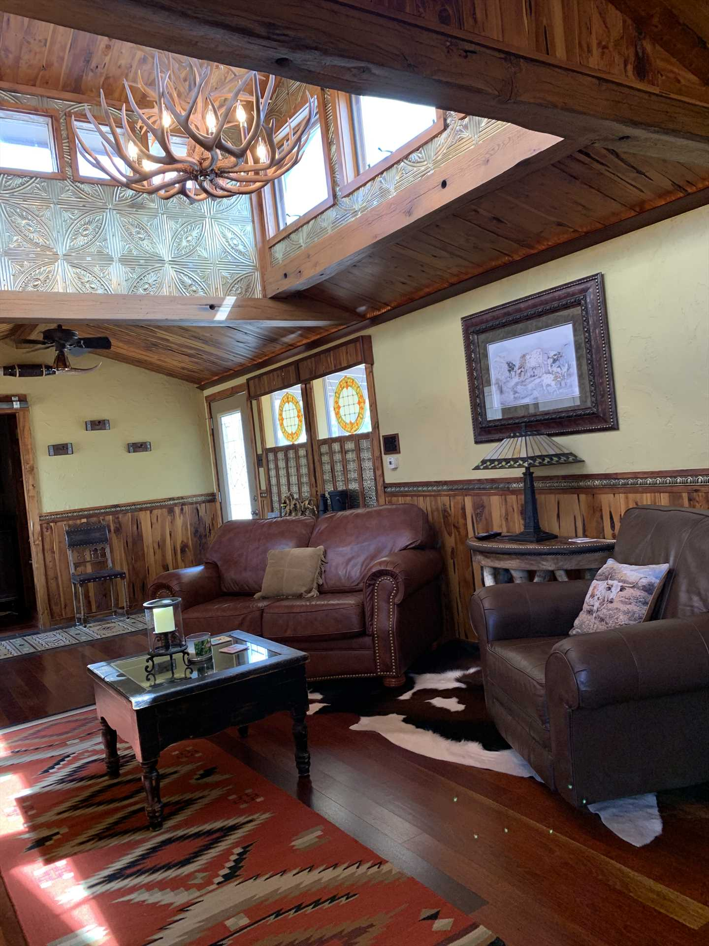 Central air and heat add customized comfort exactly to your liking inside the uniquely Texan Antler Cabin.