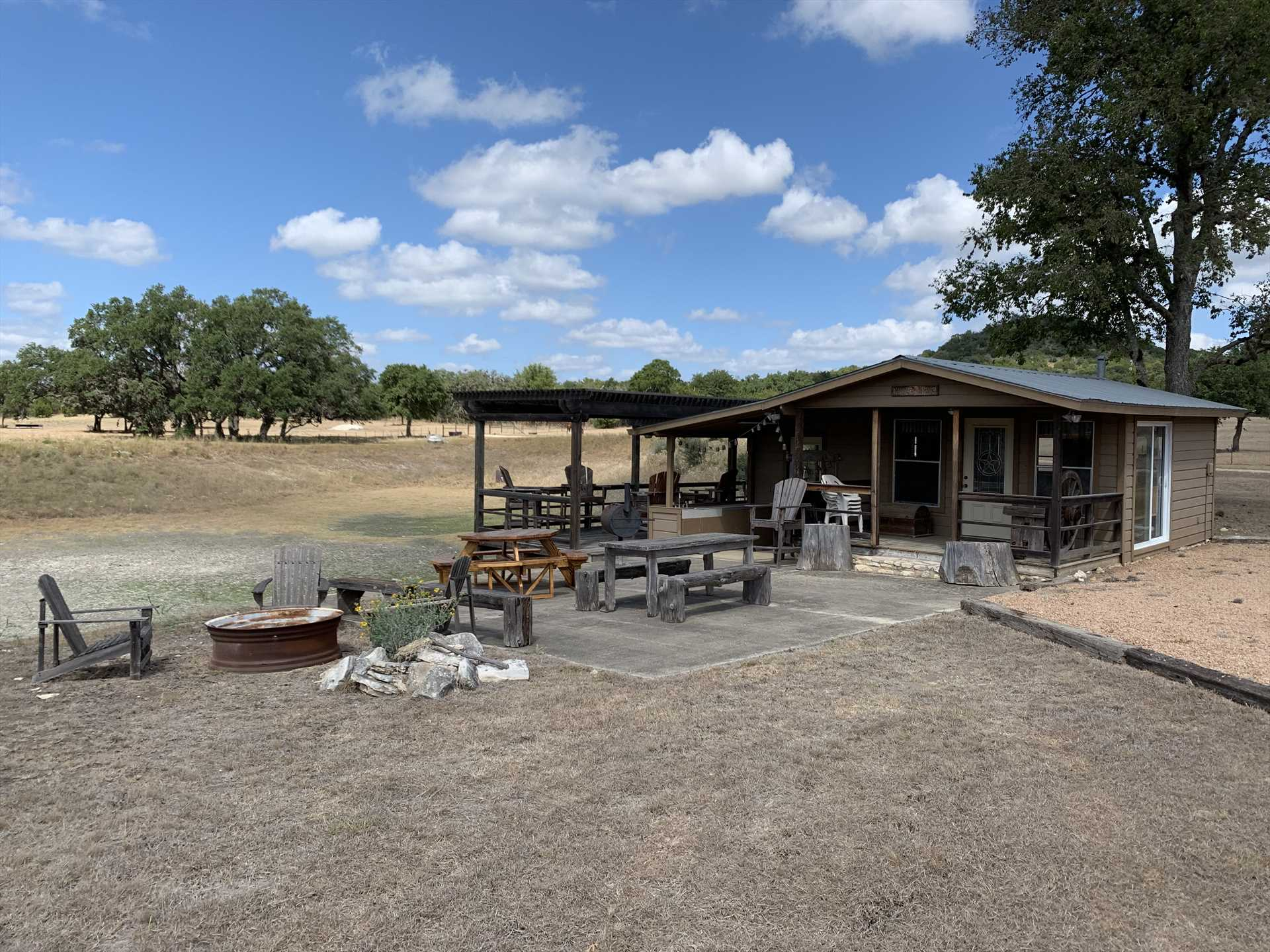 All guests at Tabasco Ranch are invited to enjoy the shared pavilion on the property. It's a wonderful spot for cookouts and socializing!